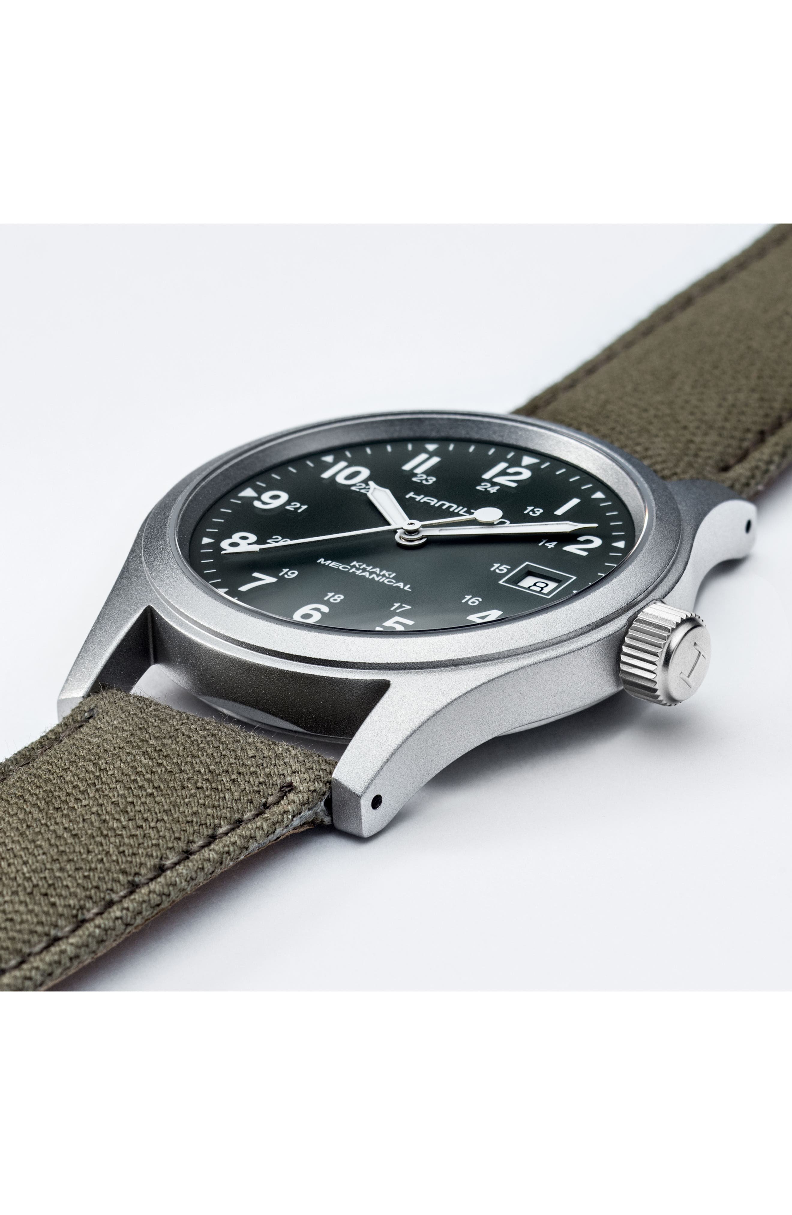 Khaki Field Canvas Strap Watch, 38mm,                             Alternate thumbnail 4, color,                             GREEN/ SILVER