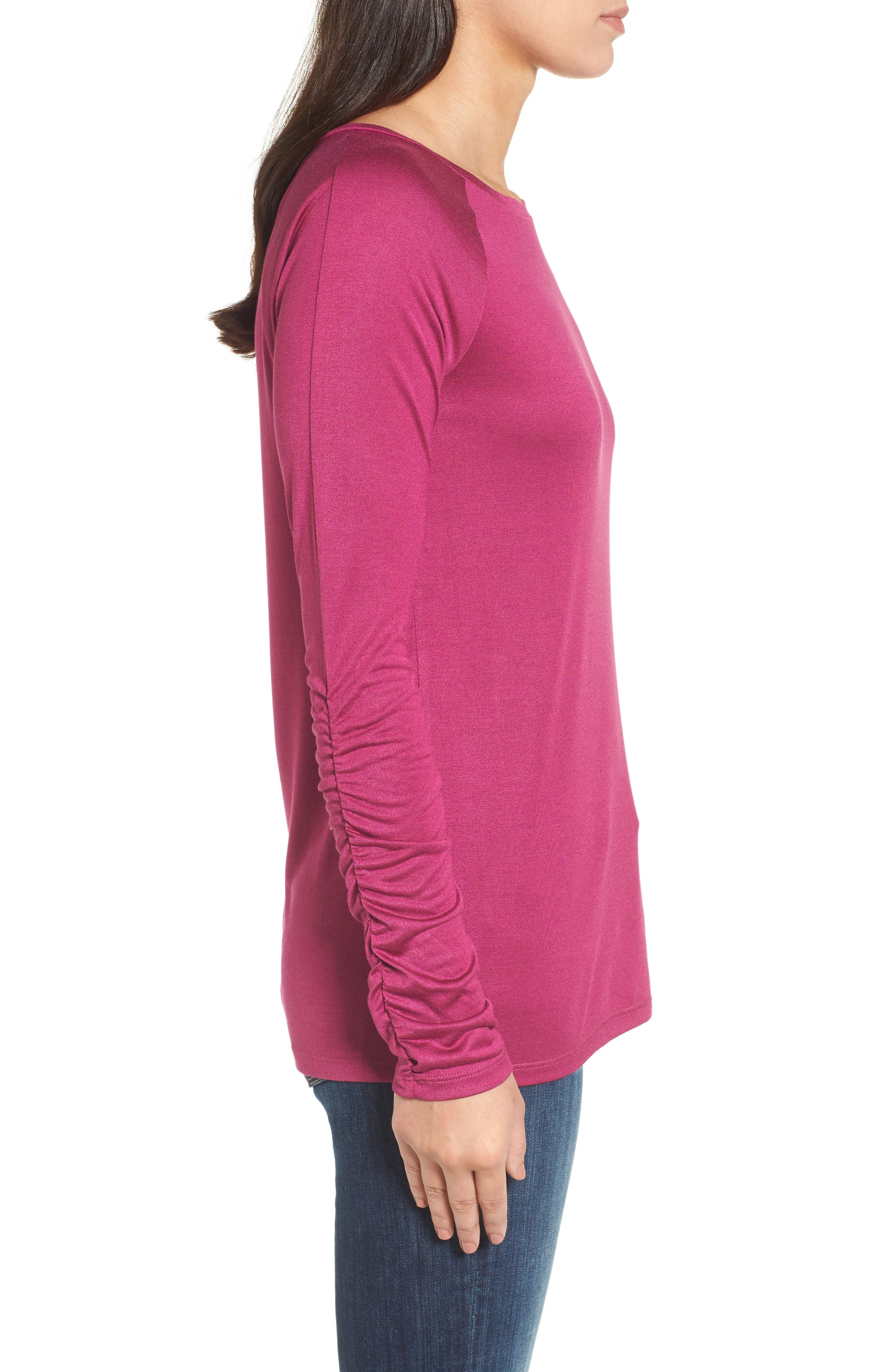 Ruched Sleeve Tee,                             Alternate thumbnail 12, color,