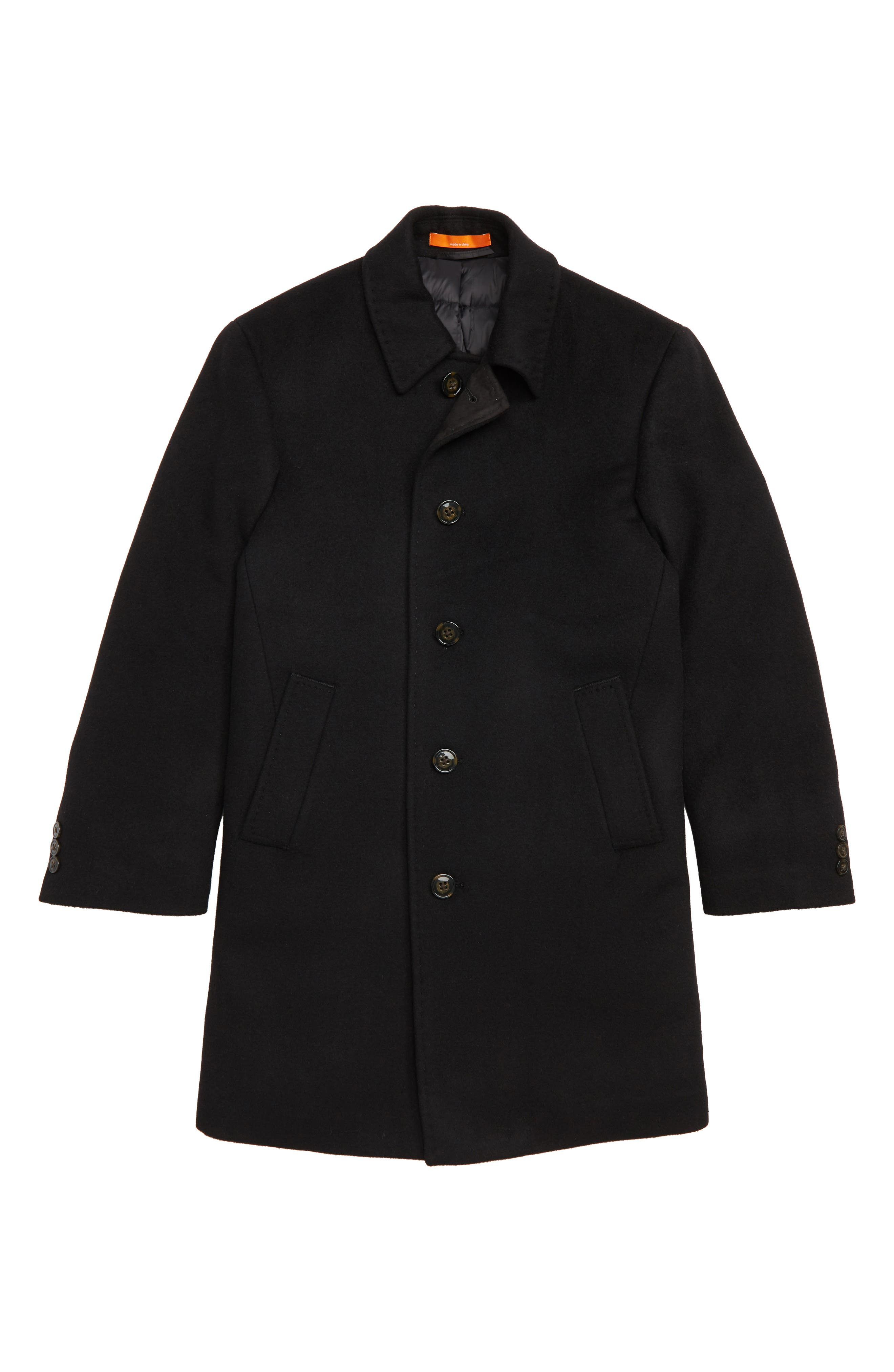 Down Insulated Wool Blend Coat,                             Main thumbnail 1, color,                             BLACK