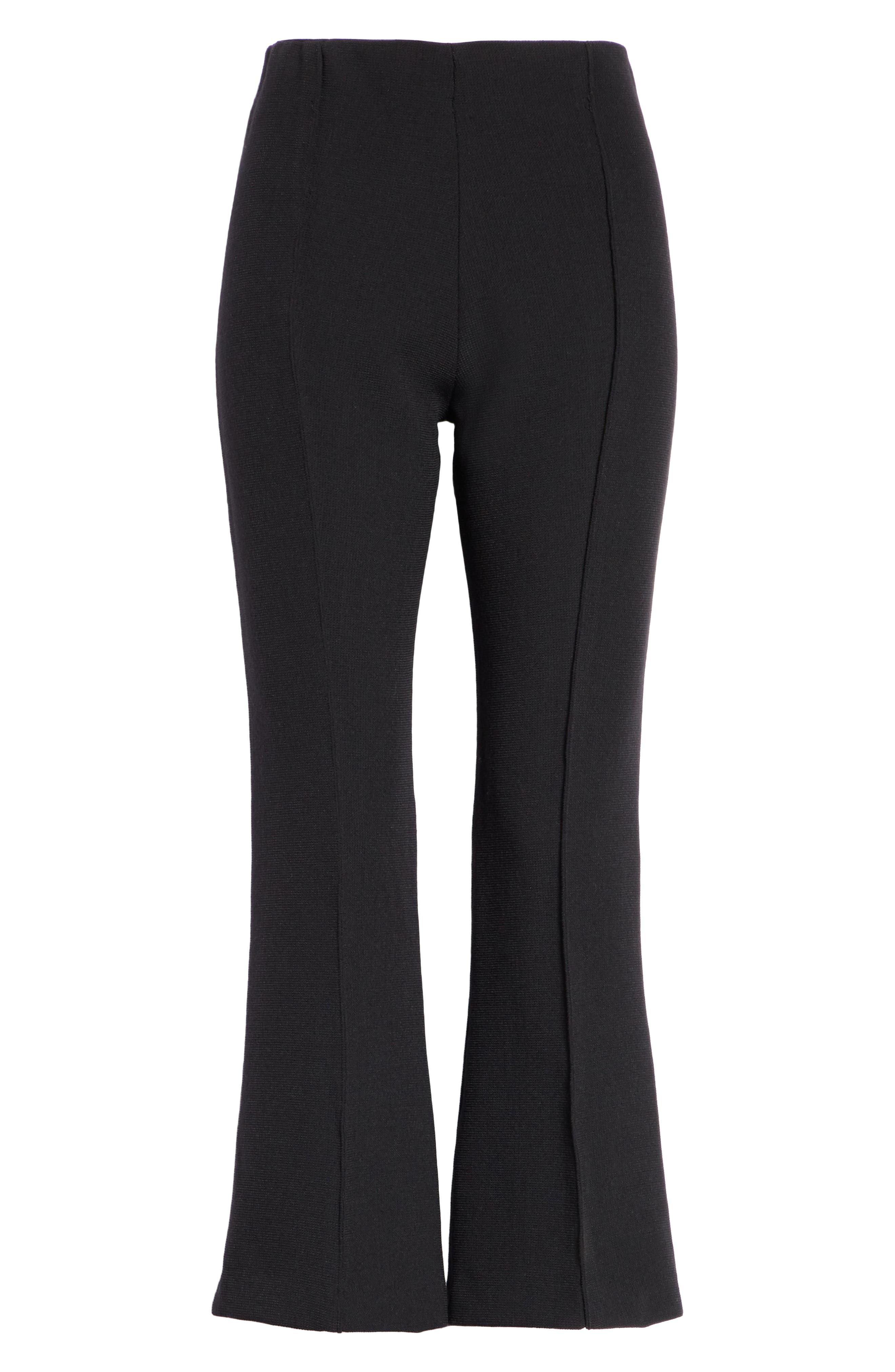 Pull-On Wool Blend Crop Flare Pants,                             Alternate thumbnail 6, color,                             BLACK PIQUE