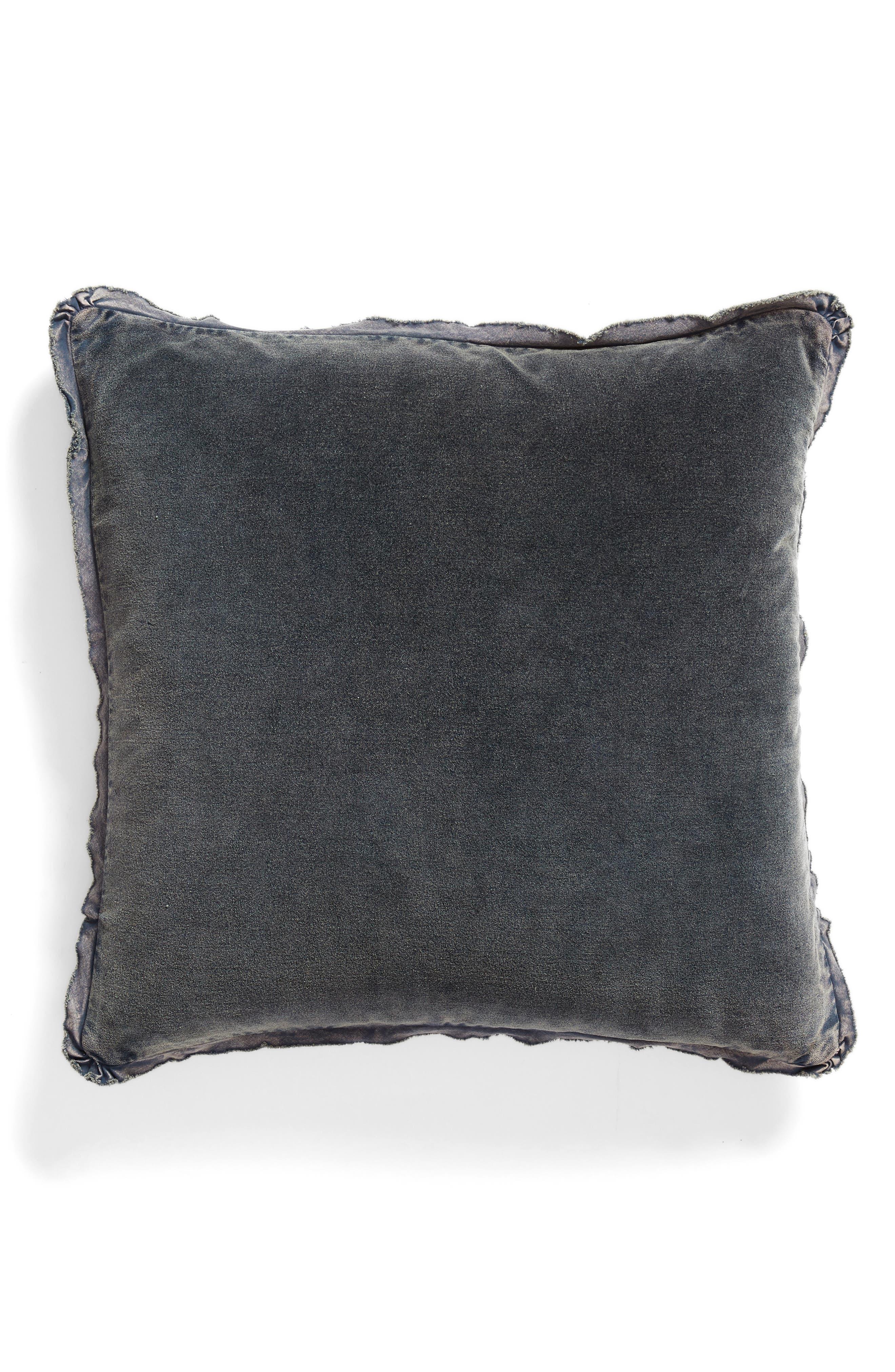 Stonewash Velvet Accent Pillow,                         Main,                         color, NAVY BLUE