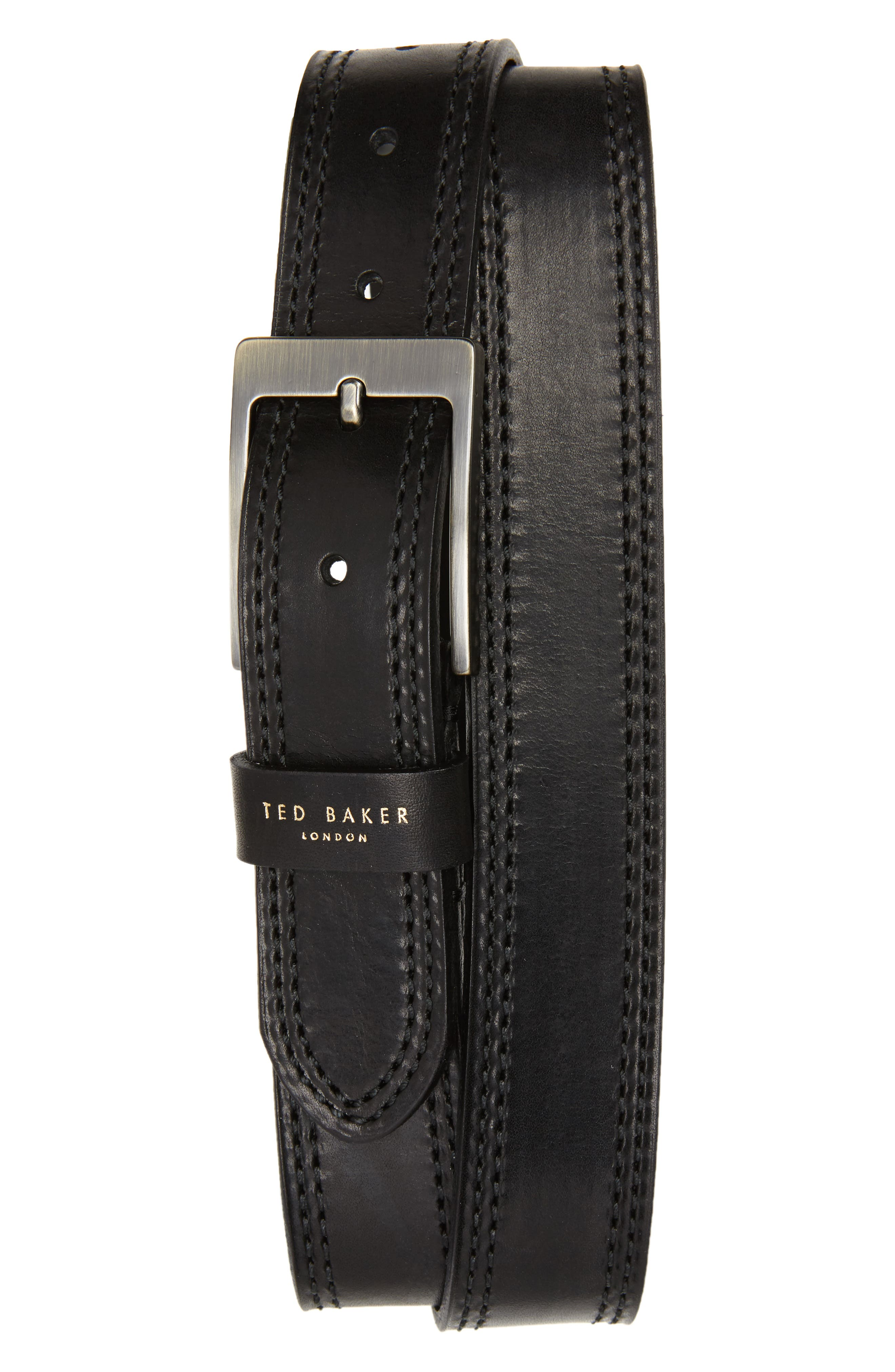 Crikiit Stitched Leather Belt,                             Main thumbnail 1, color,                             001