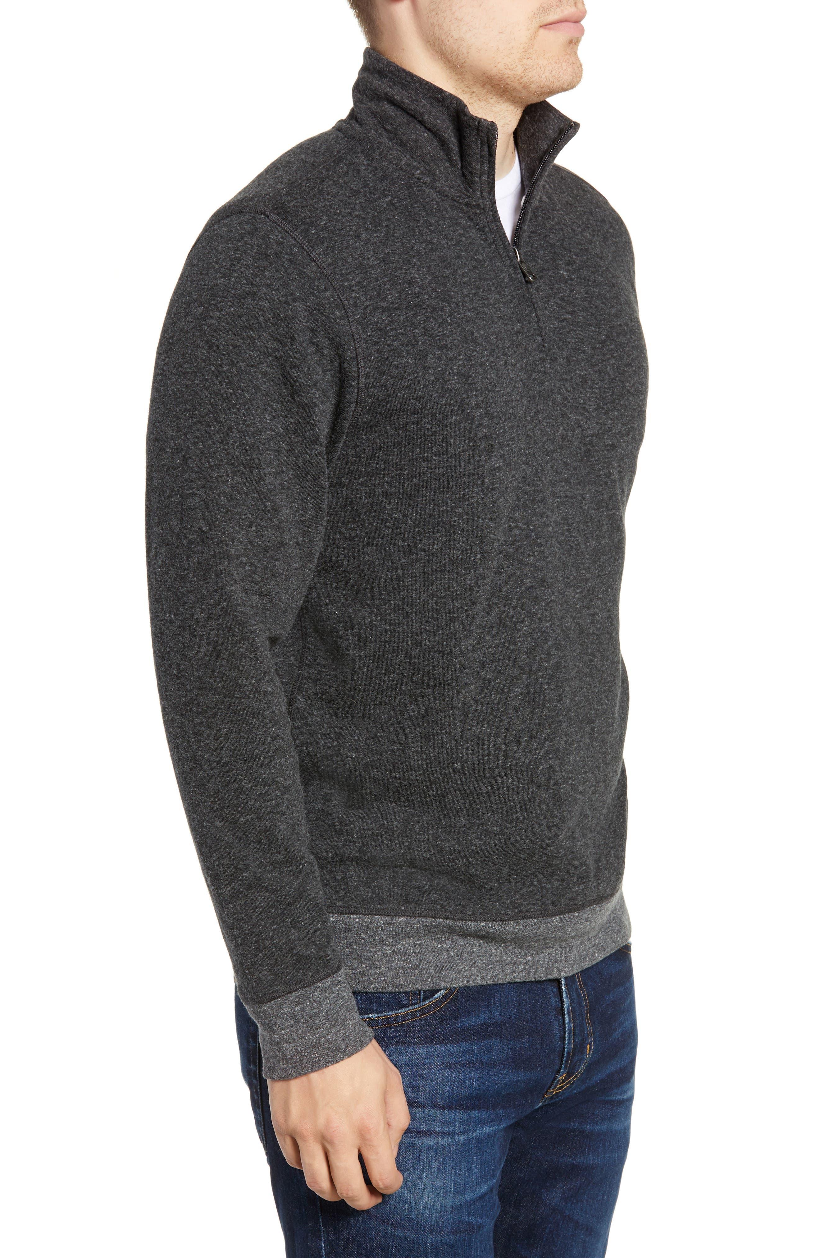 Dual Knit Regular Fit Quarter Zip Pullover,                             Alternate thumbnail 3, color,                             WASHED BLACK