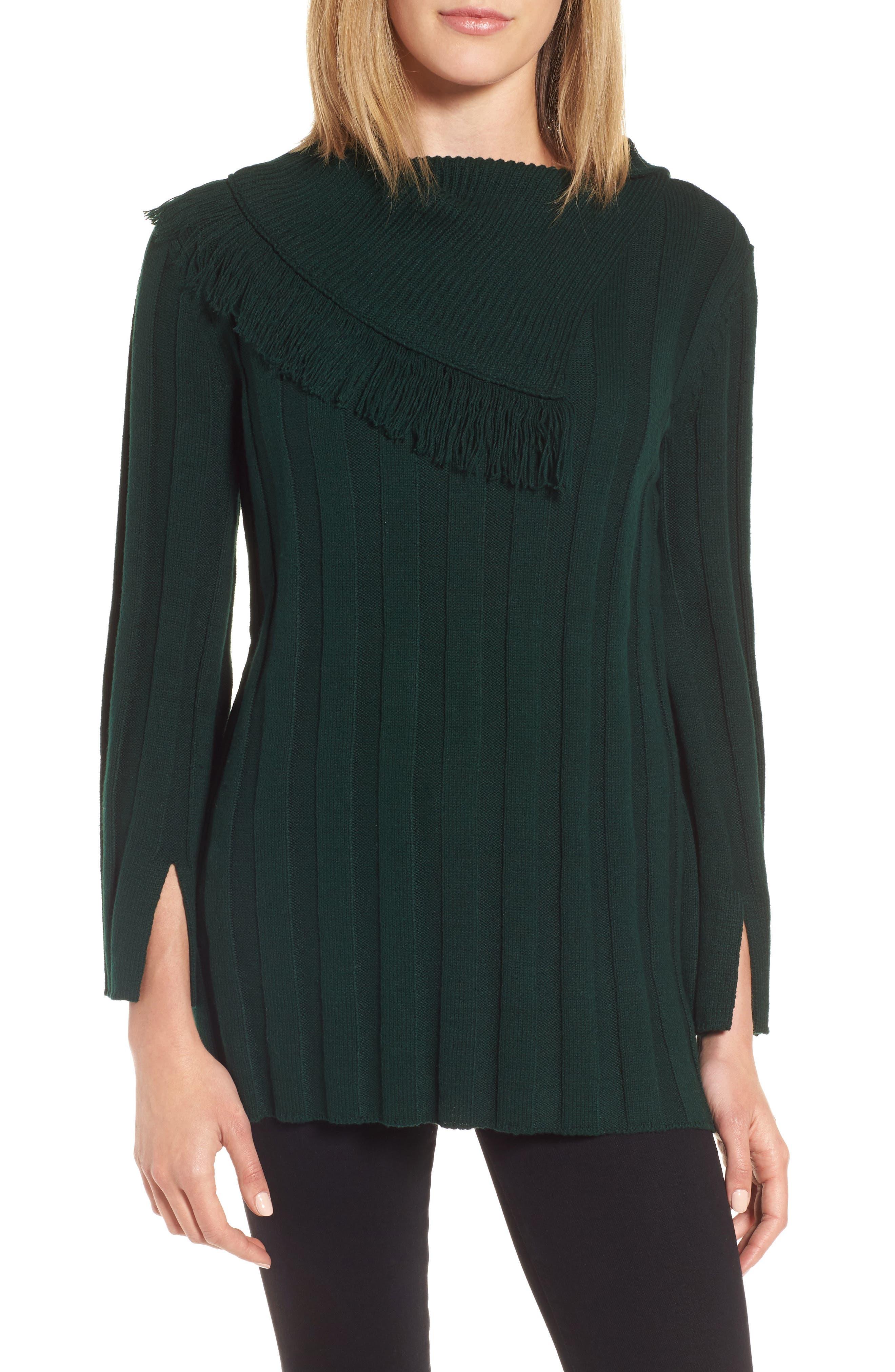 Fringe Cowl Neck Sweater,                             Main thumbnail 3, color,