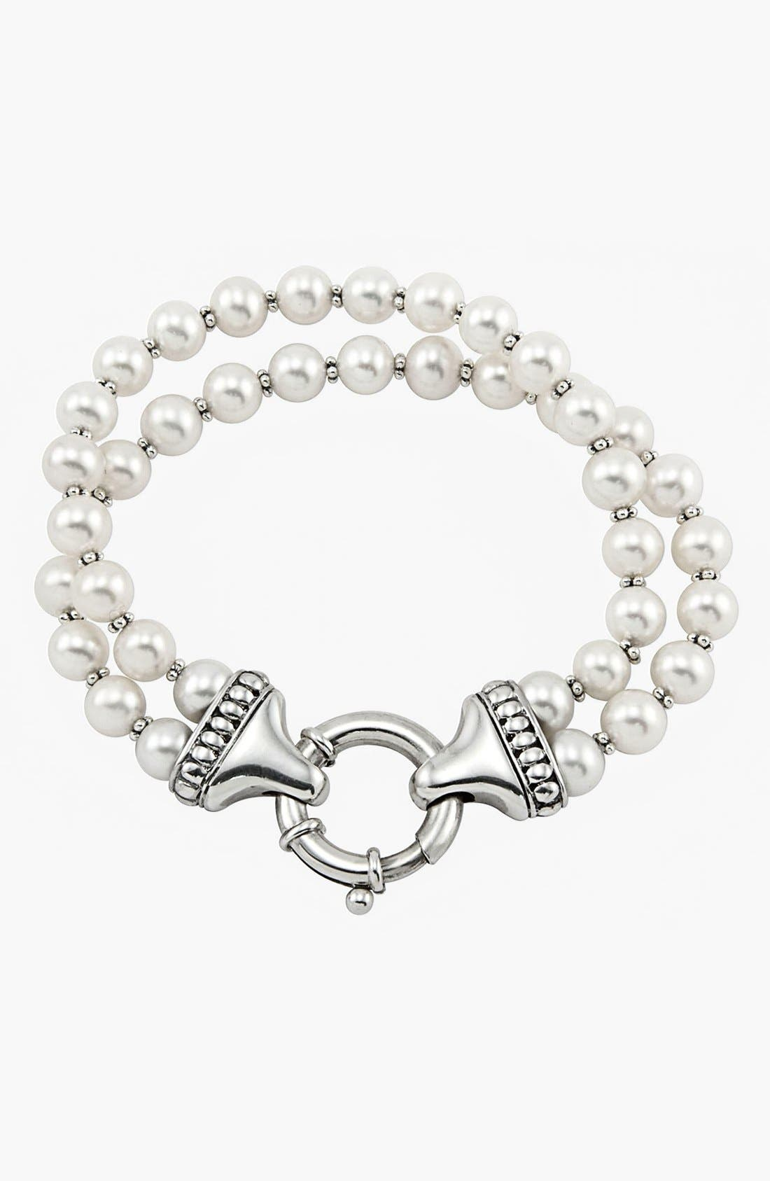 'Luna' Double Strand Pearl Bracelet,                             Main thumbnail 1, color,                             GOLD/ PEARL