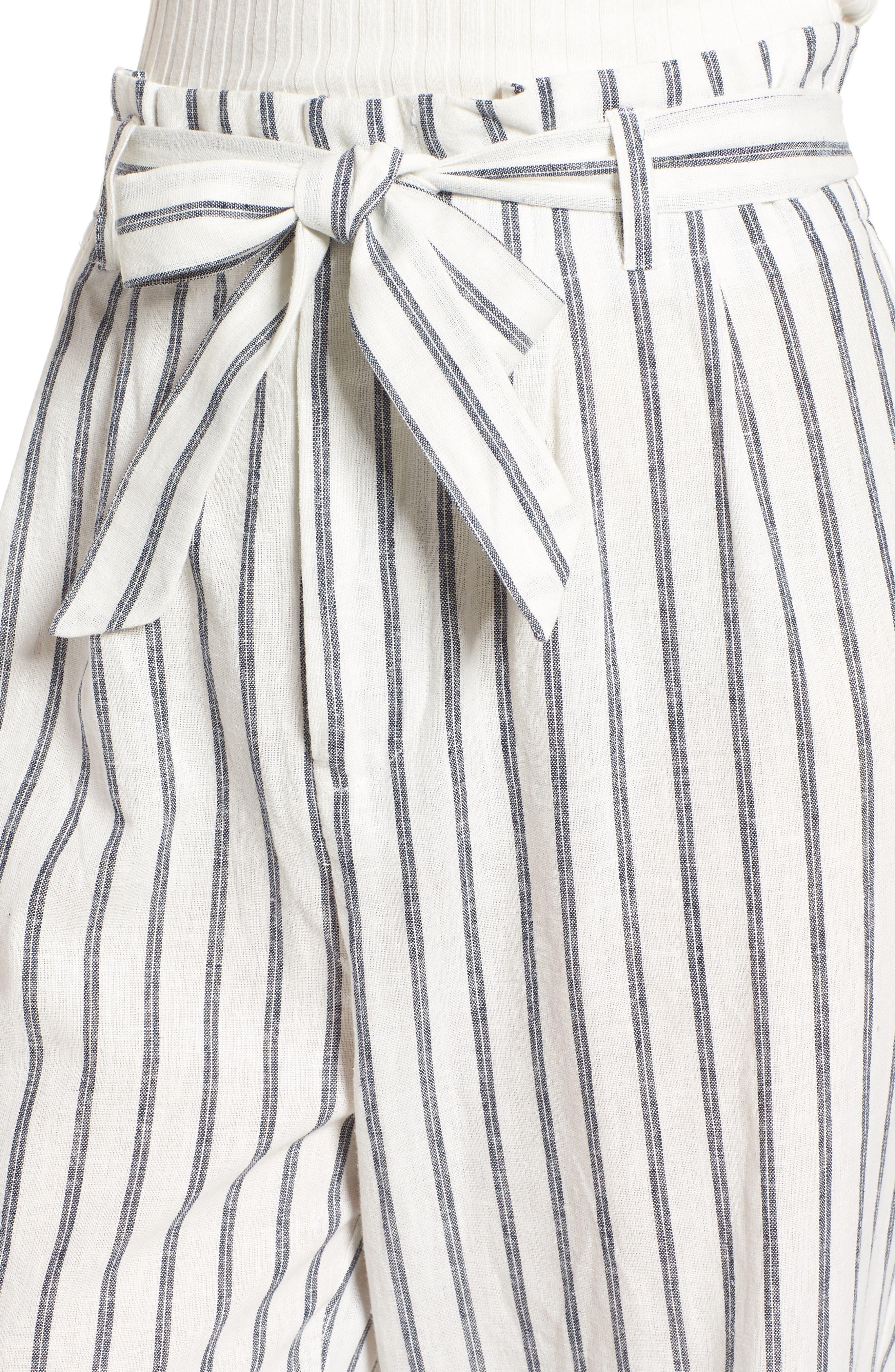 Paper Bag Linen & Cotton Pants,                             Alternate thumbnail 4, color,                             IVORY / BLUE STRIPE