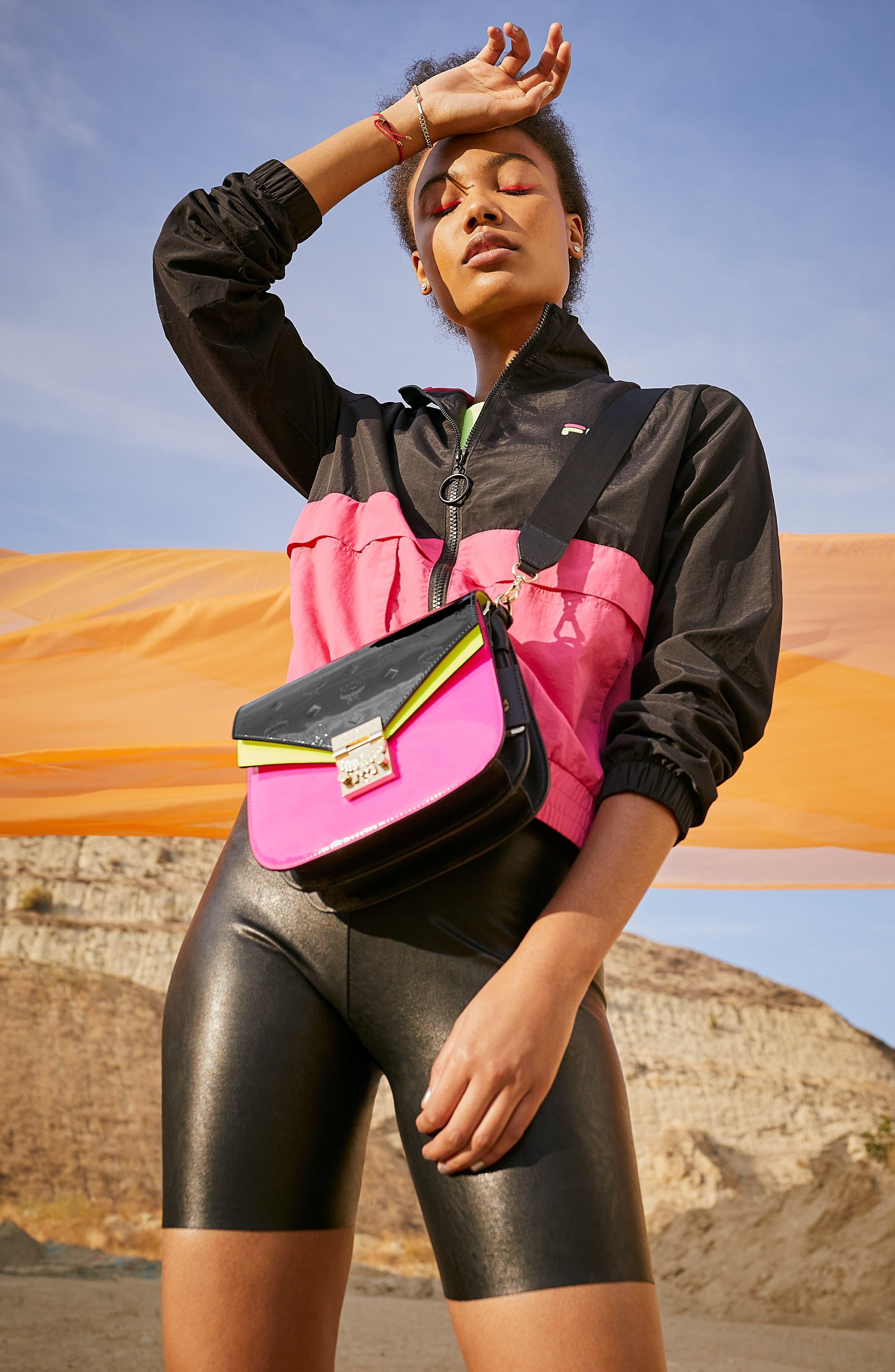 Miguela Colorblock Windbreaker Jacket,                             Alternate thumbnail 8, color,                             BLACK