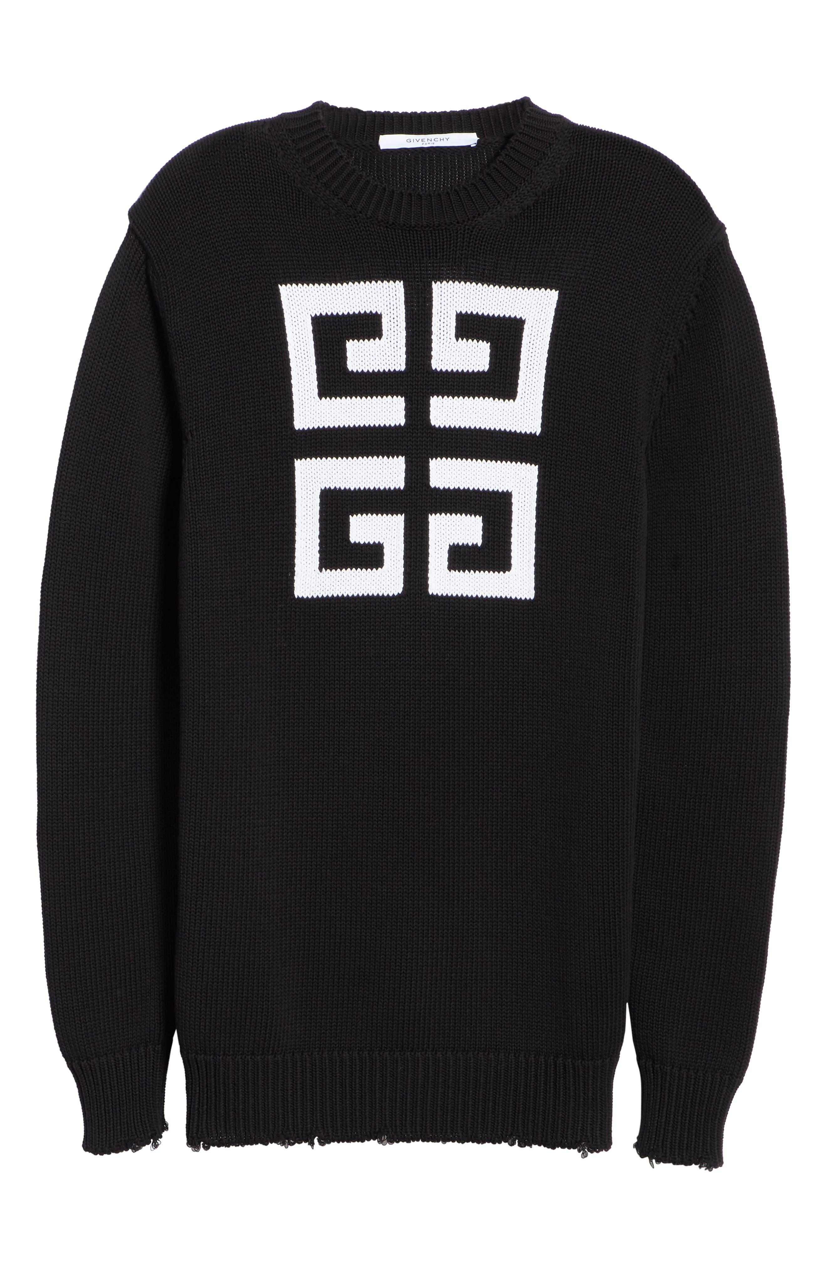 Logo Cotton Sweater,                             Alternate thumbnail 6, color,                             BLACK/ WHITE
