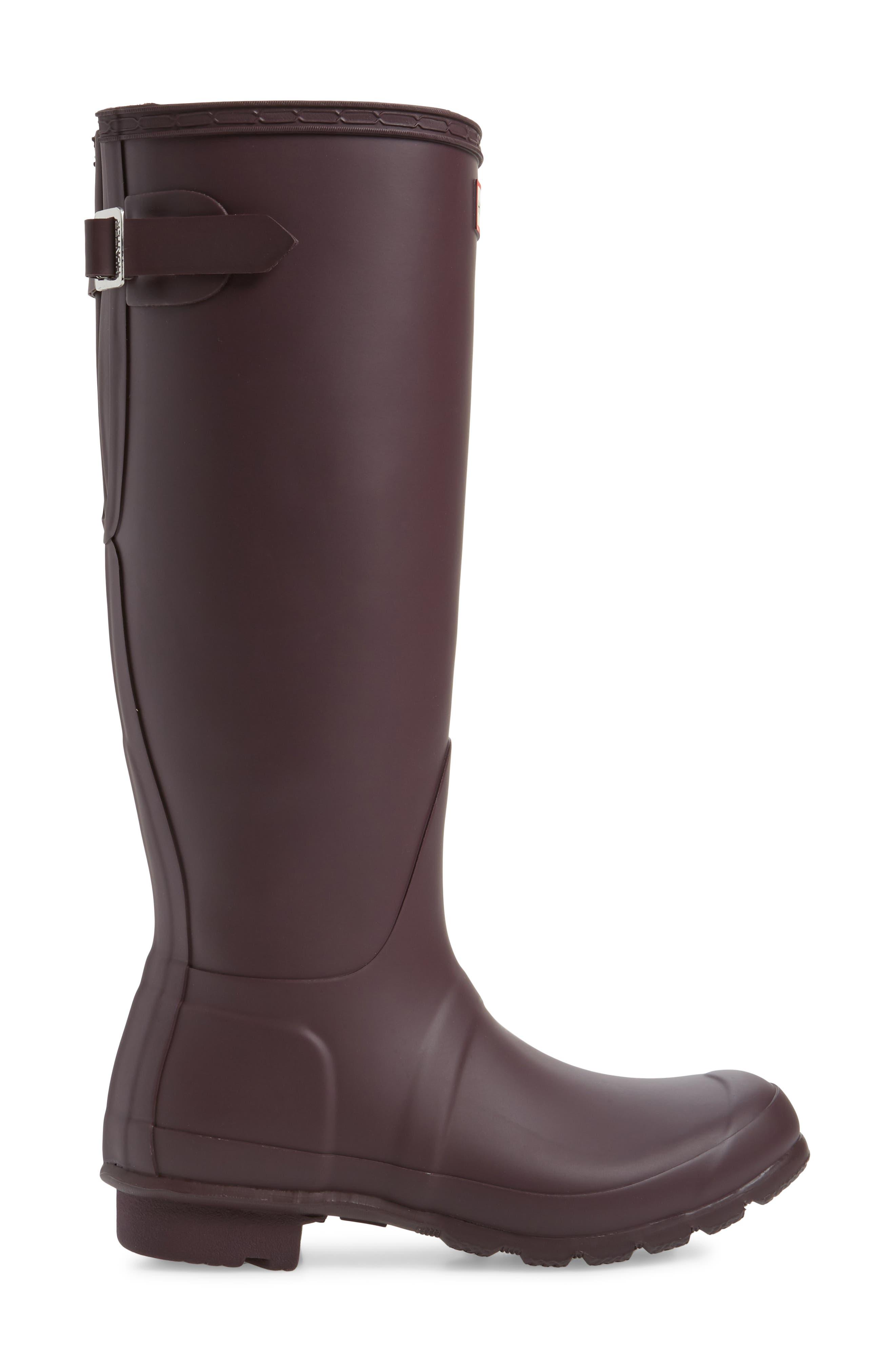 Original Tall Adjustable Back Waterproof Rain Boot,                             Alternate thumbnail 3, color,                             BLACK GRAPE