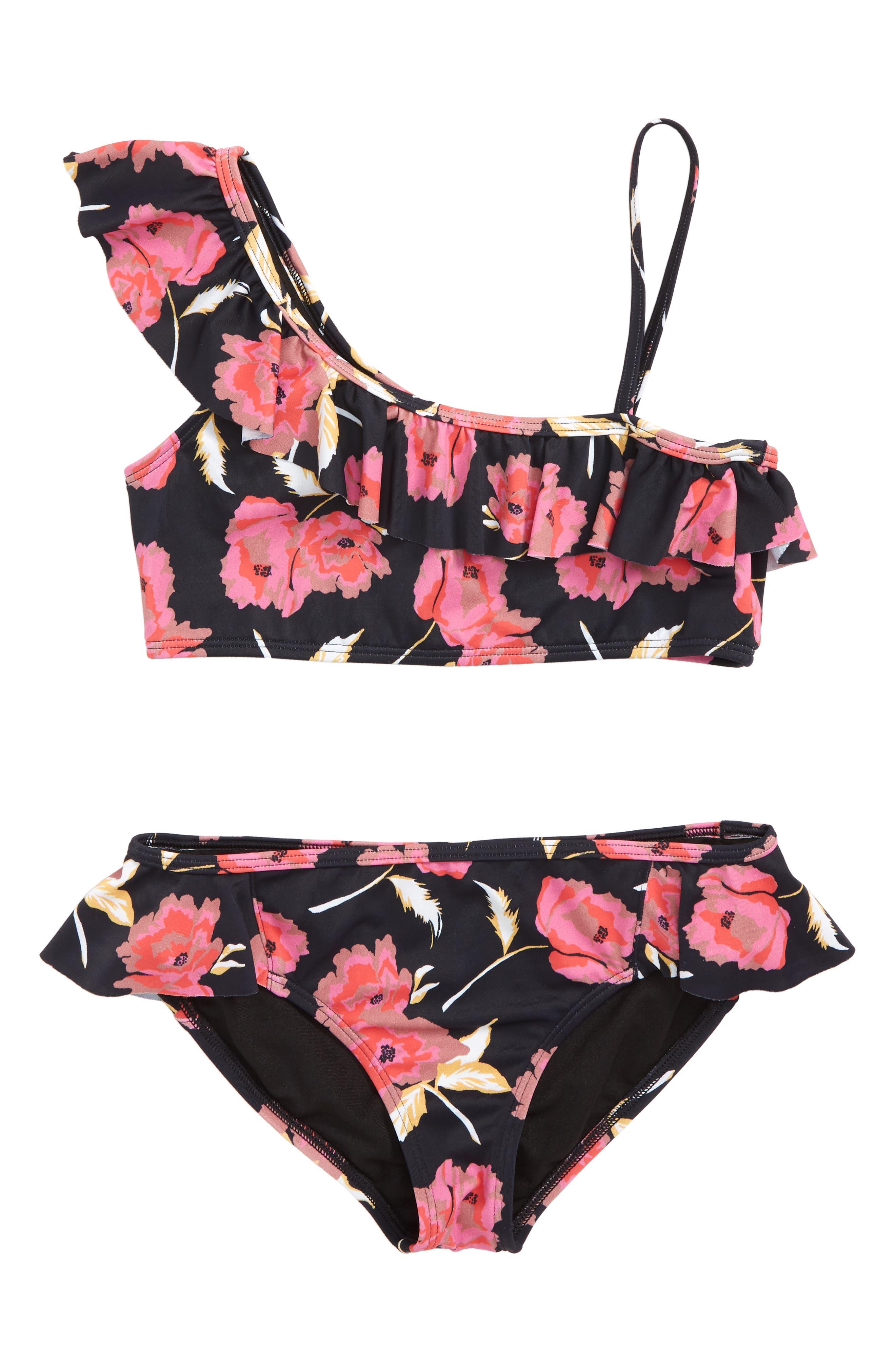Floral Dawn Two-Piece Swimsuit,                         Main,                         color, BLACK PEBBLE
