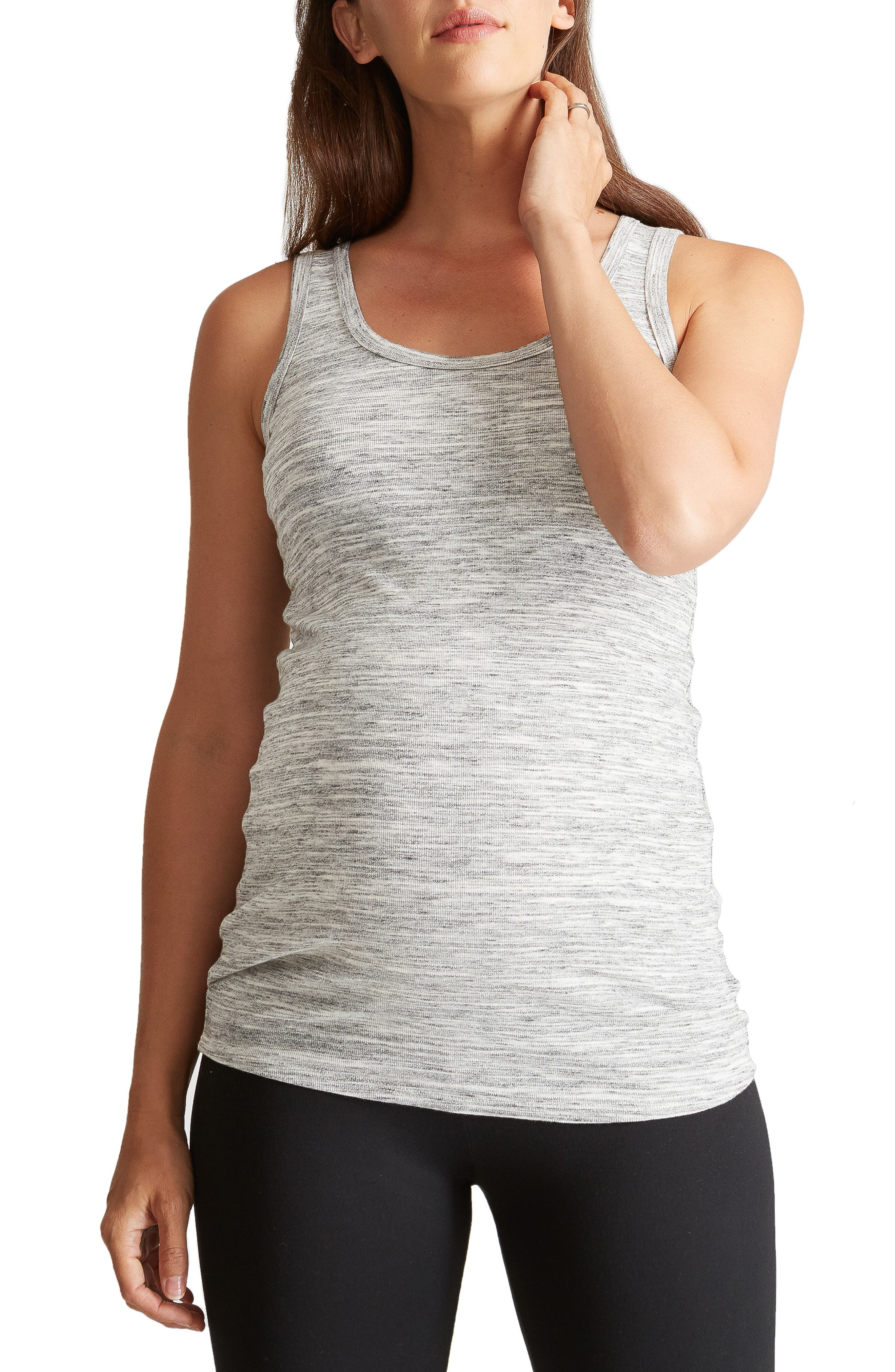 Scoop Neck Maternity Tank,                         Main,                         color, GREY SWEPT MARBLE