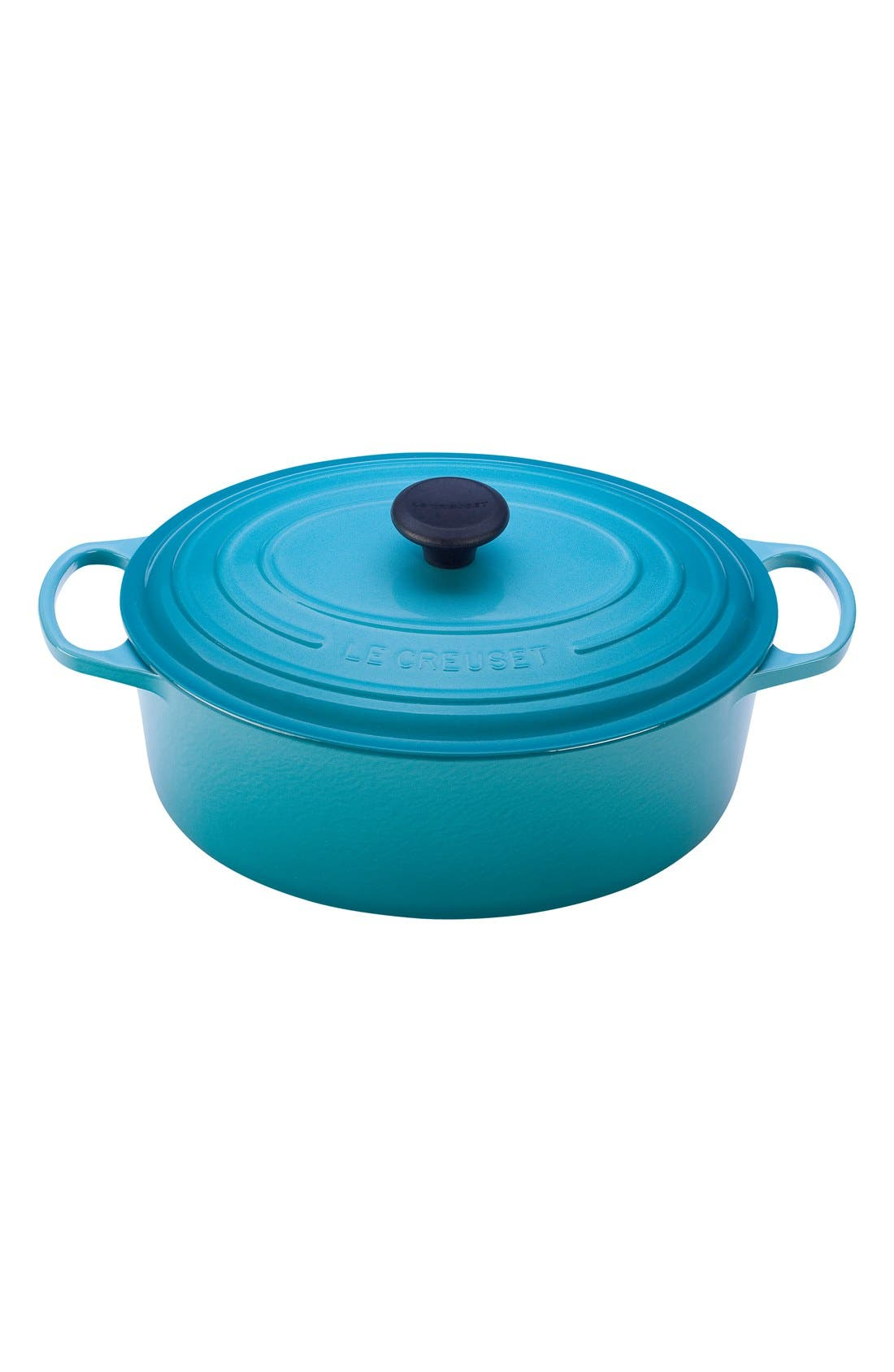 Signature 5 Quart Oval Enamel Cast Iron French/Dutch Oven,                             Main thumbnail 1, color,                             CARIBBEAN