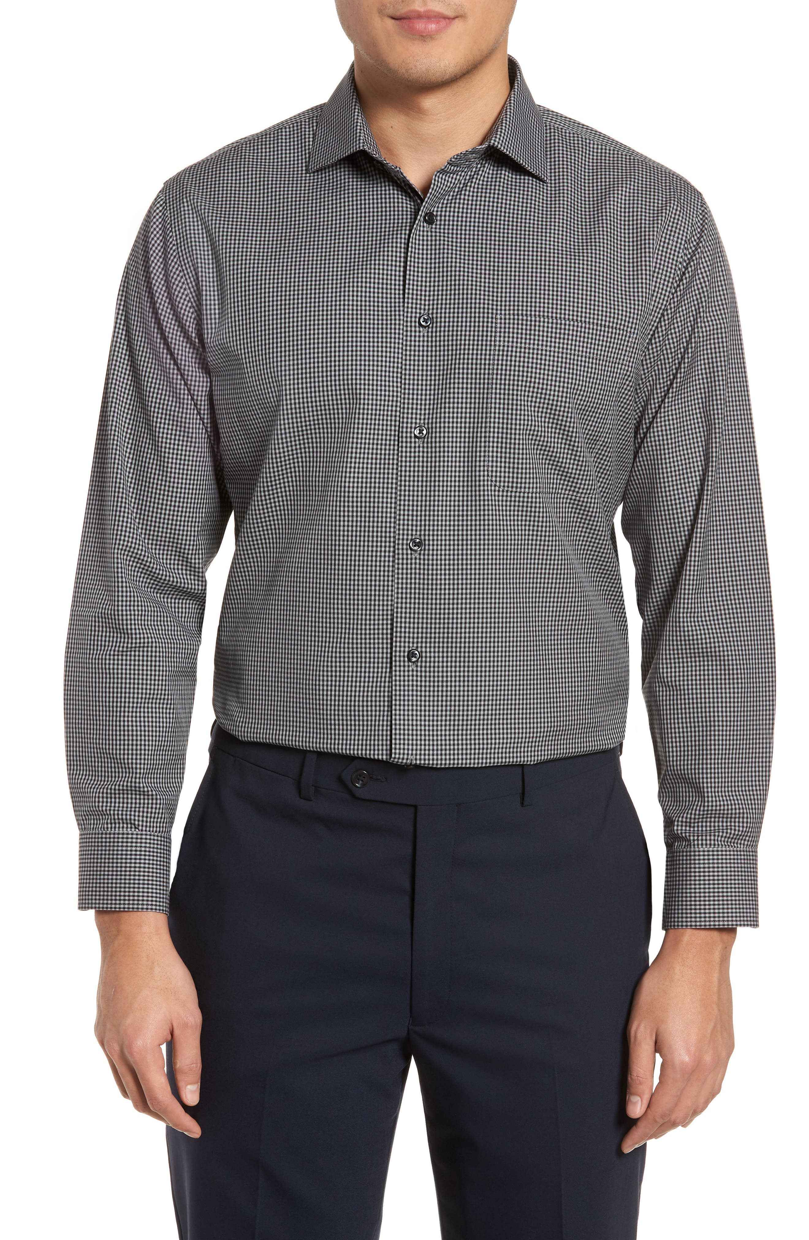Smartcare<sup>™</sup> Trim Fit Check Dress Shirt,                             Main thumbnail 1, color,                             001