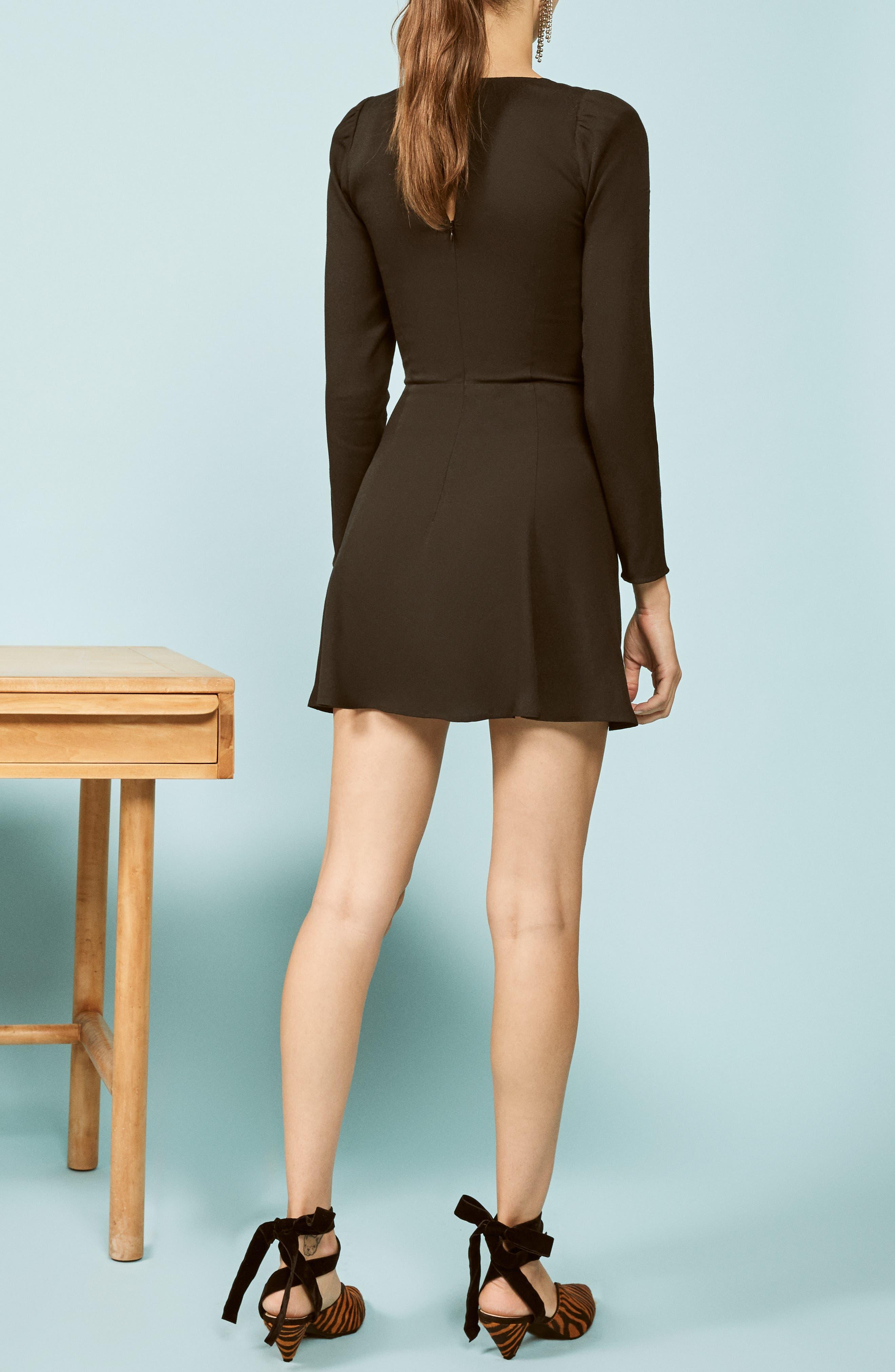 Milla Fit & Flare Minidress,                             Alternate thumbnail 3, color,                             BLACK