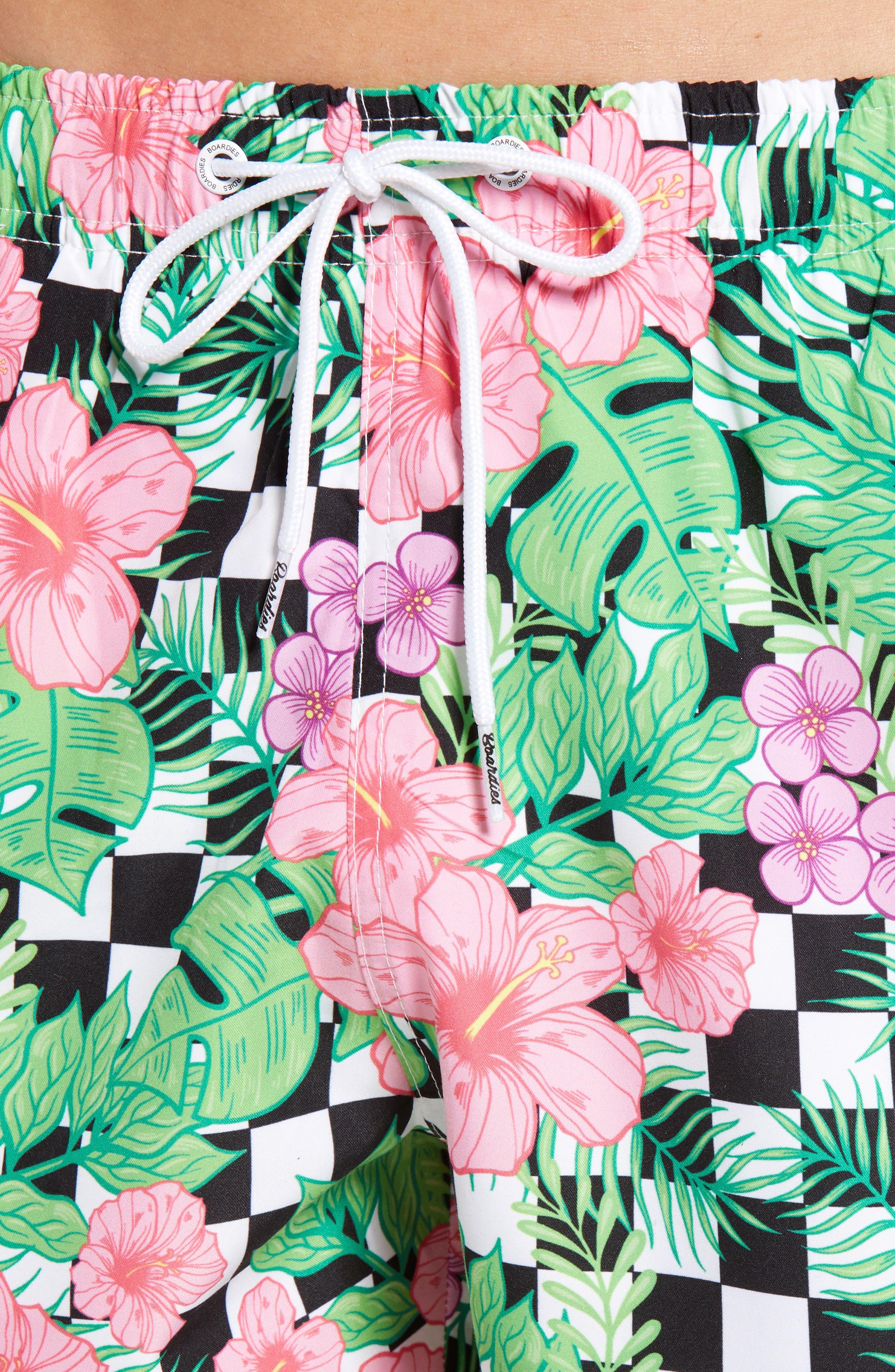 Checkerboard Floral Print Swim Trunks,                             Alternate thumbnail 4, color,                             MULTI