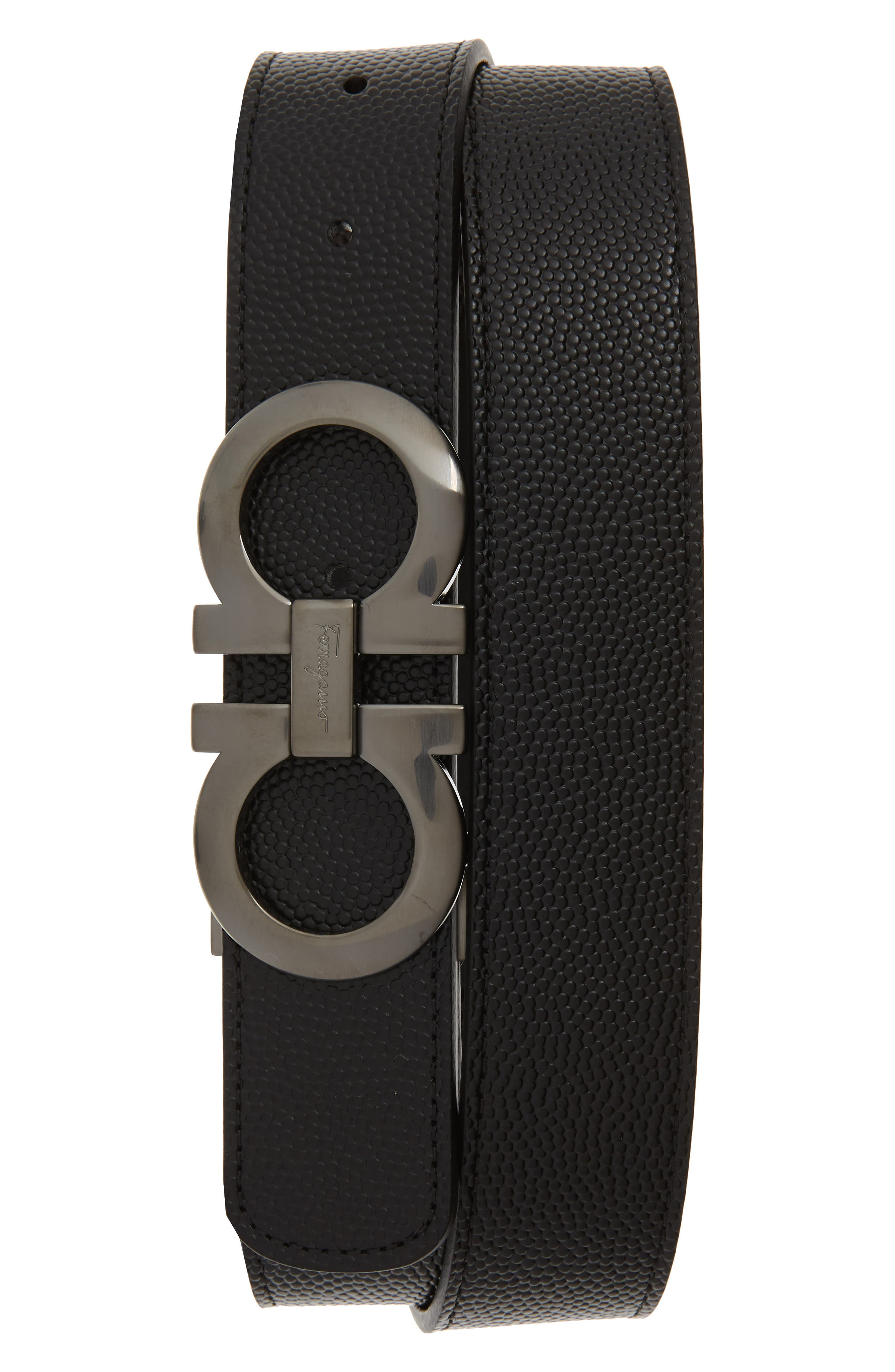 Leather Belt,                         Main,                         color, NERO/ CHOCOLATE