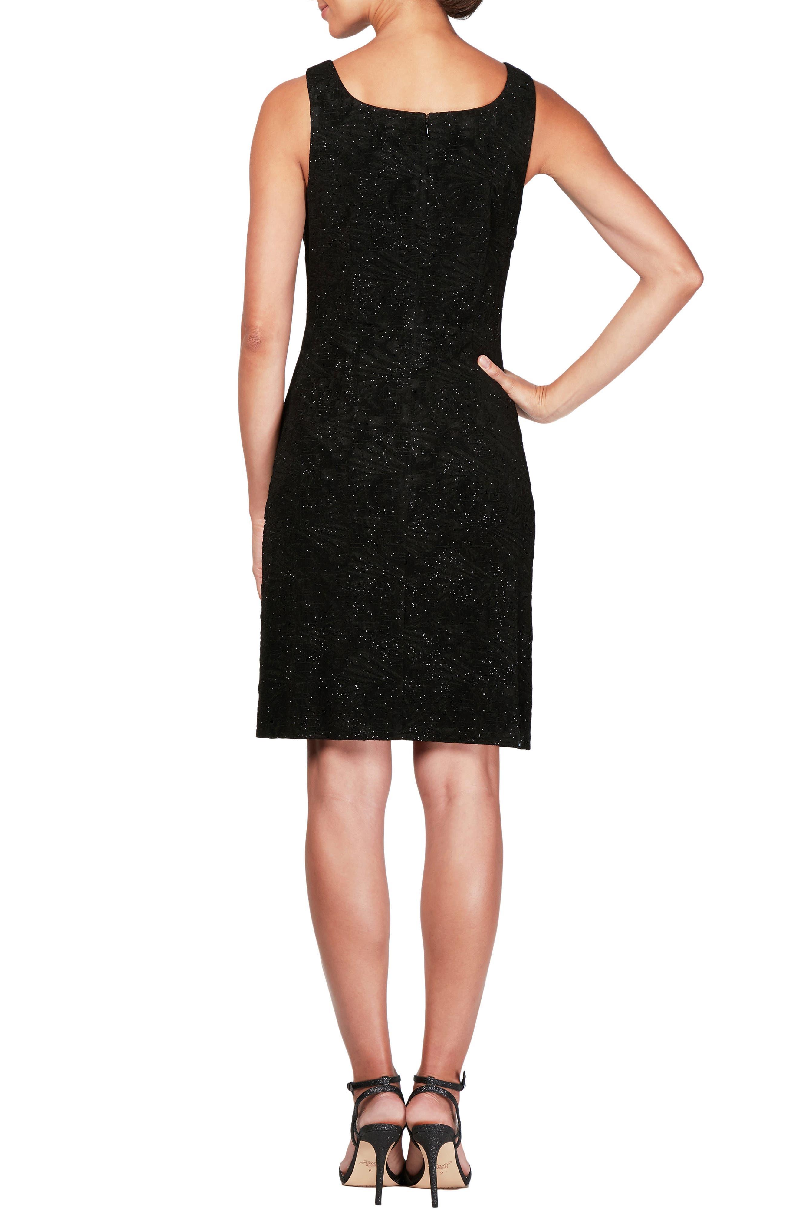 Sequin Shift Dress with Jacket,                             Alternate thumbnail 4, color,                             BLACK