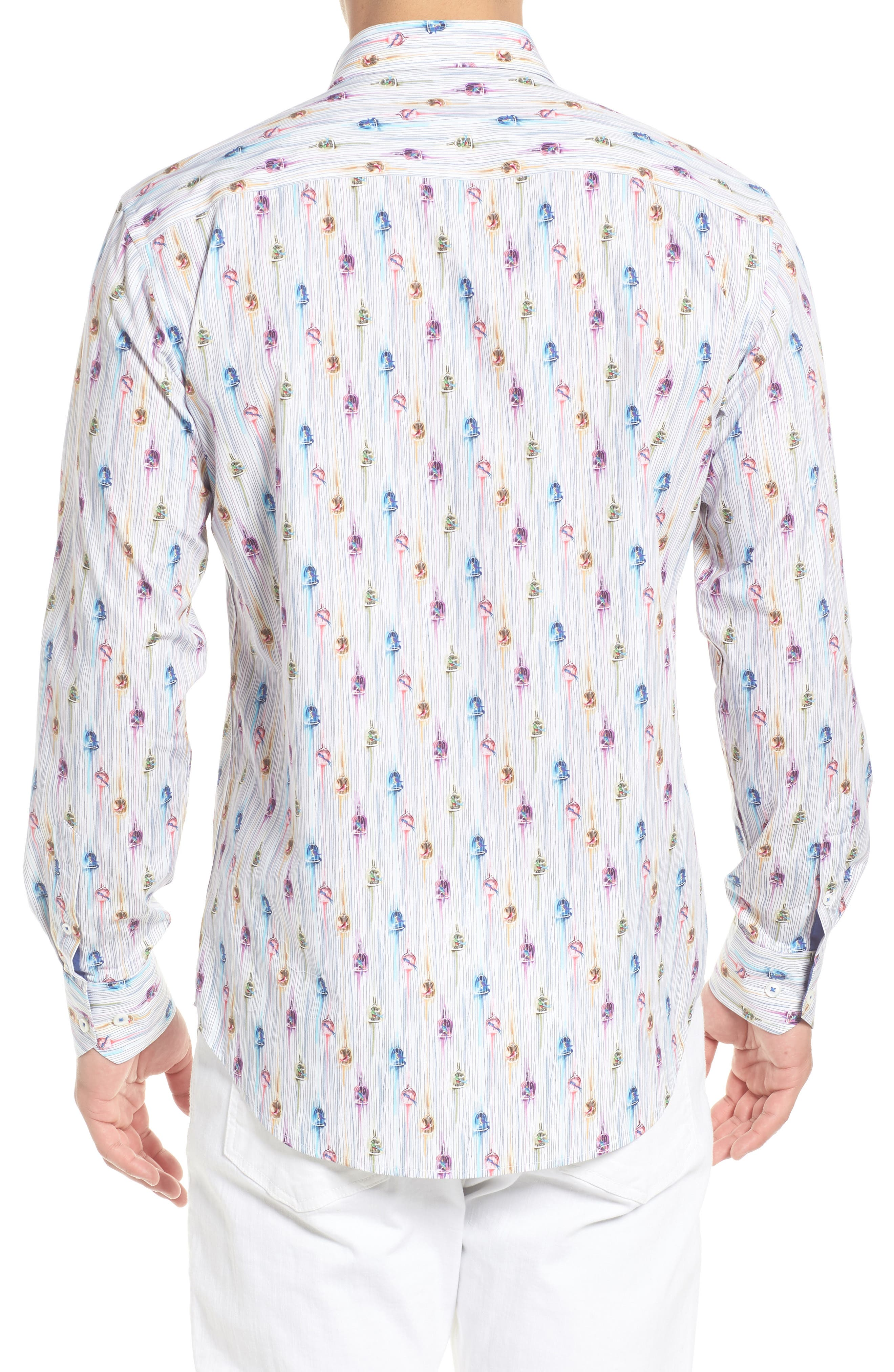Shaped Fit Caged Bird Sport Shirt,                             Alternate thumbnail 2, color,                             601