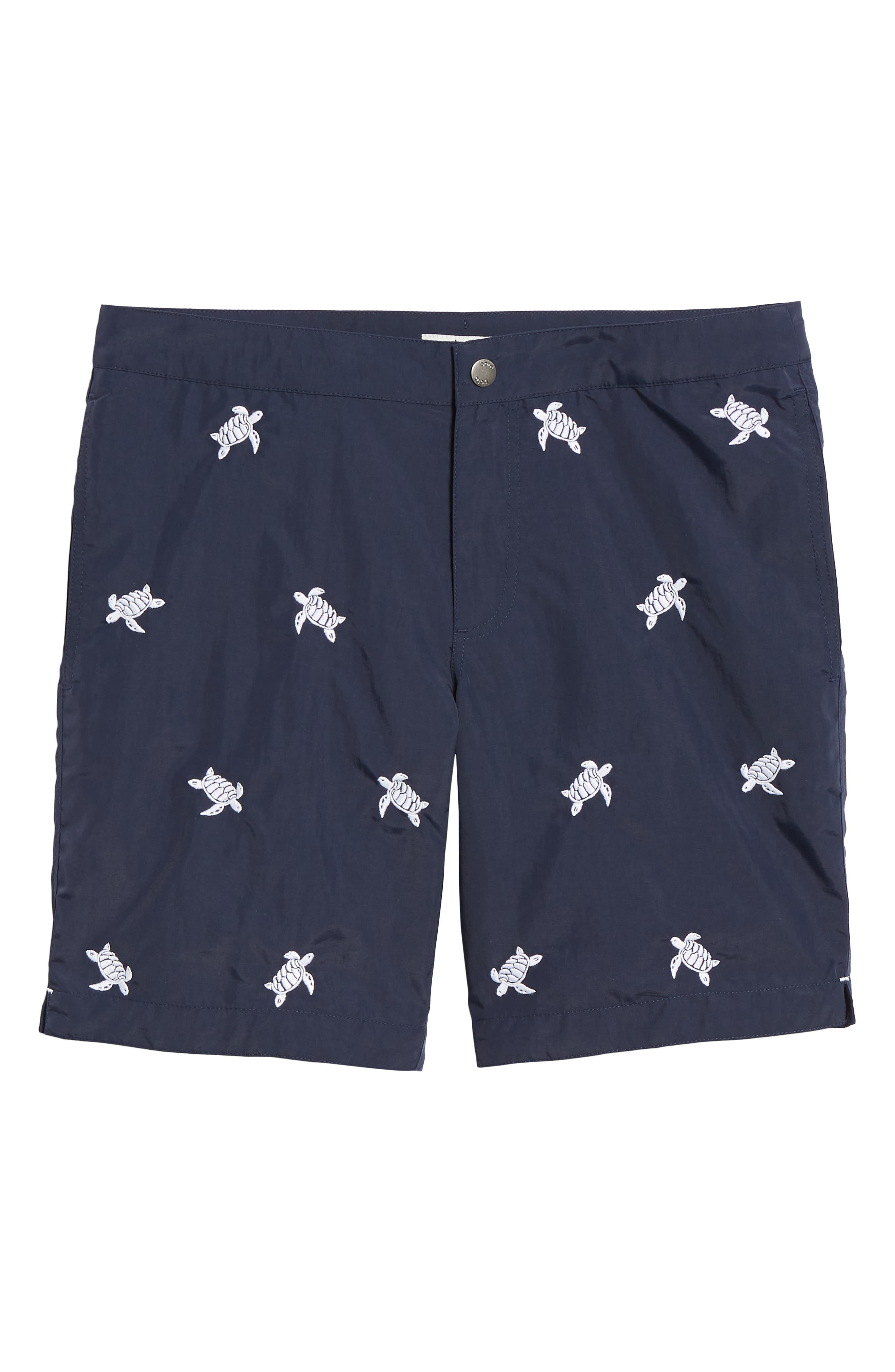 Aruba Embroidered 8.5 Inch Swim Trunks,                             Alternate thumbnail 6, color,                             NAVY EMBROIDERED TURTLES