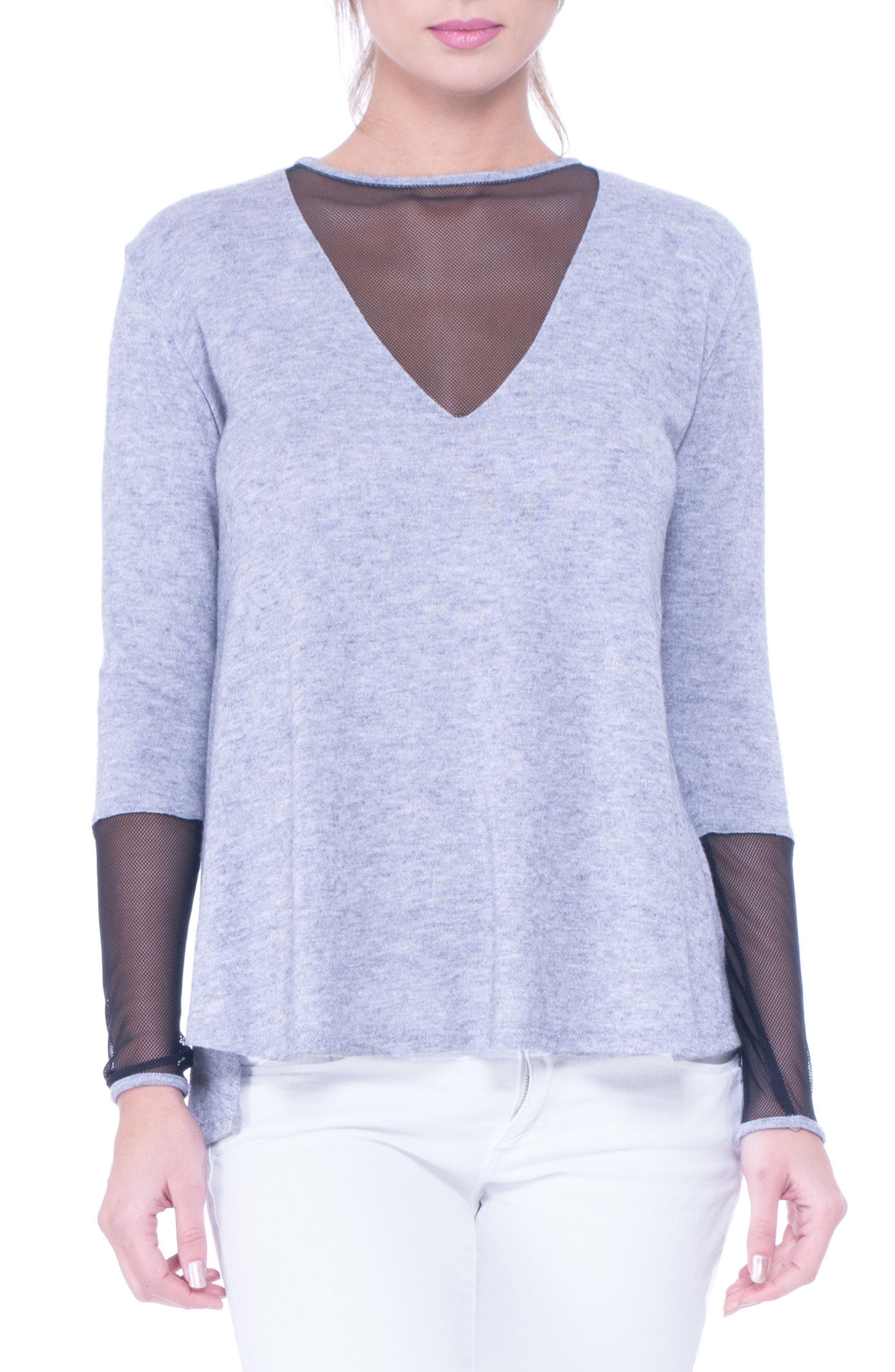 Valerie Mesh Detail Maternity Sweater,                             Main thumbnail 1, color,                             GLACIER GREY