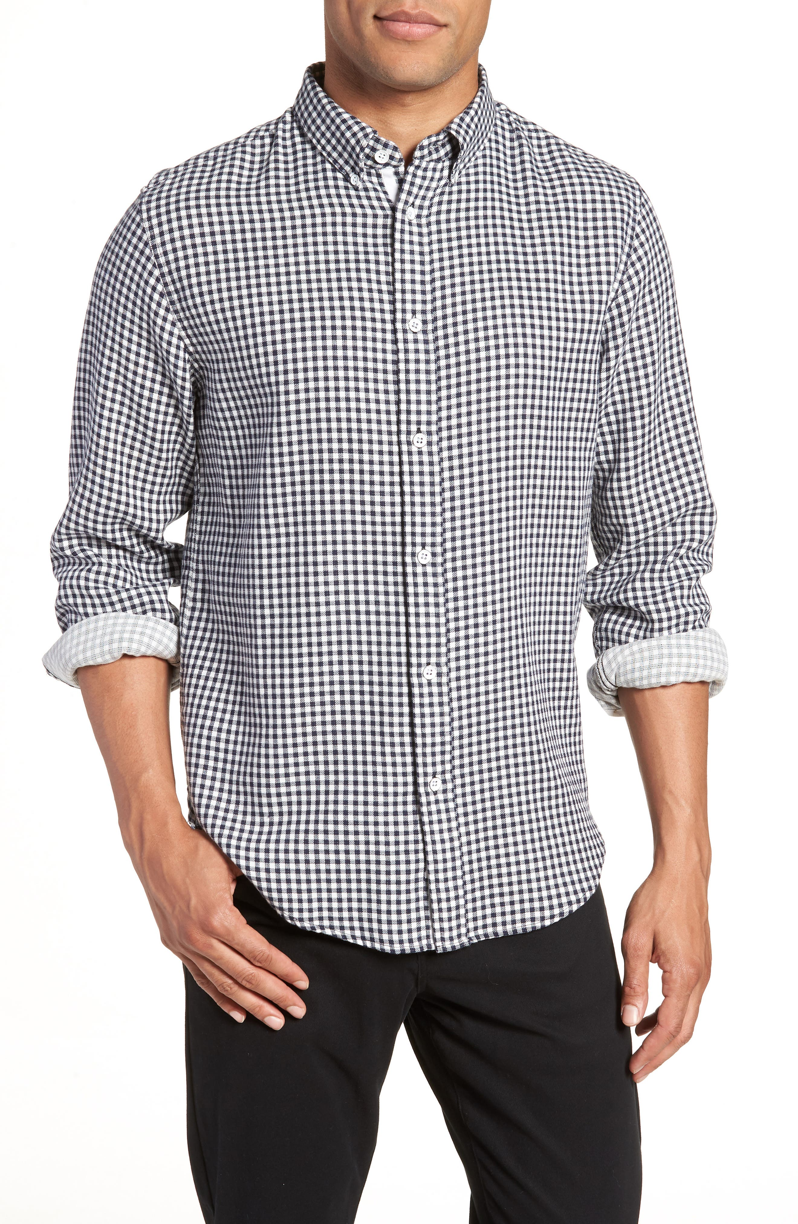 Fit 2 Tomlin Check Sport Shirt,                         Main,                         color, NAVY GINGHAM