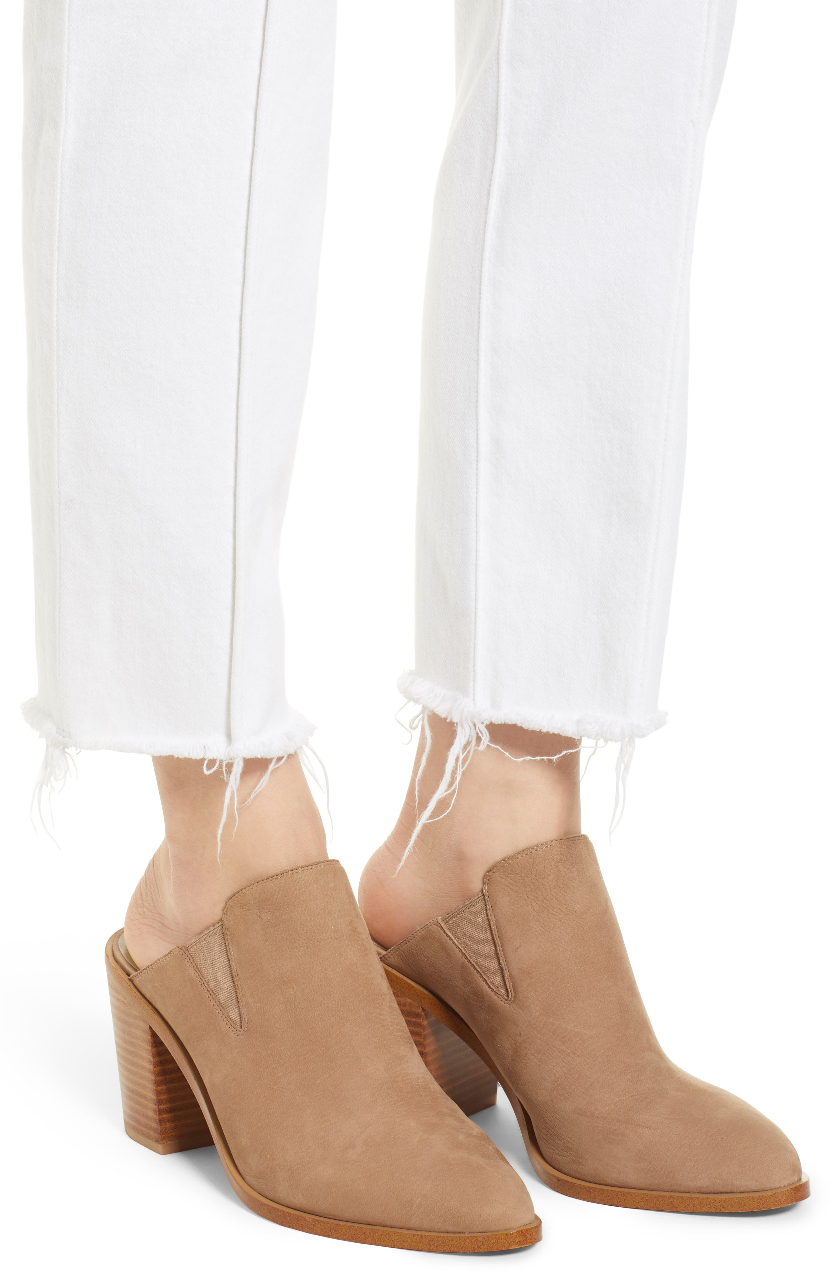 Zoeey Pintuck High Waist Crop Straight Leg Jeans,                             Alternate thumbnail 4, color,                             120