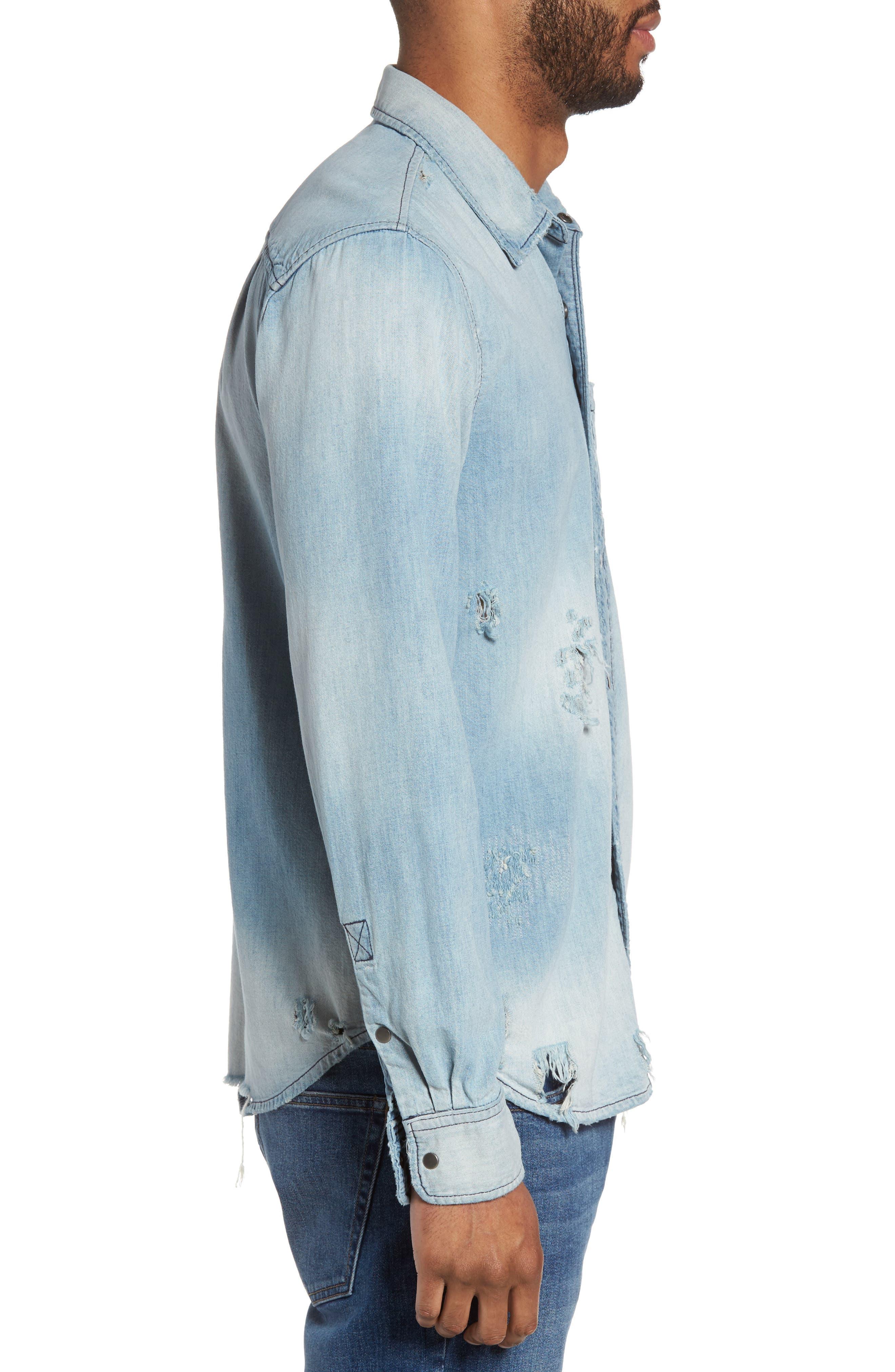 Hudson Slim Fit Destructed Denim Shirt,                             Alternate thumbnail 3, color,