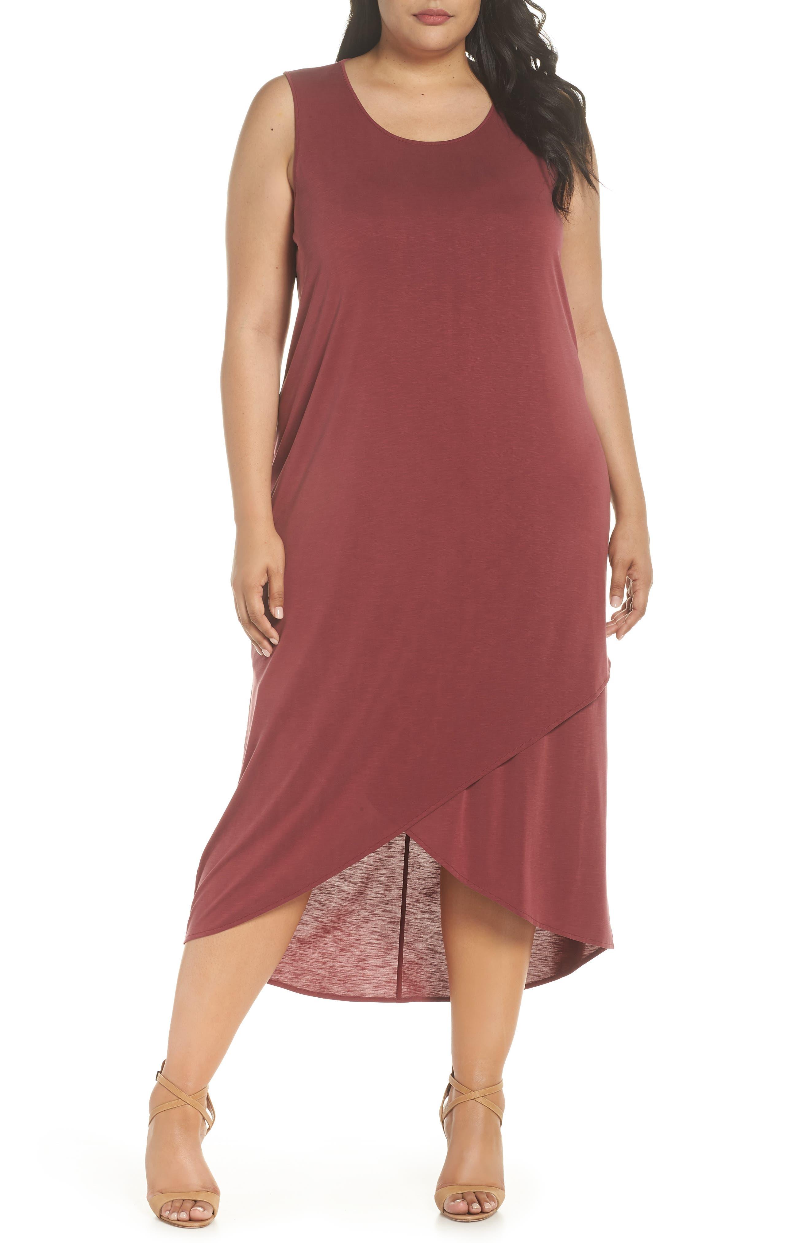 Boardwalk Jersey High/Low Dress,                         Main,                         color, WASHED RAISIN