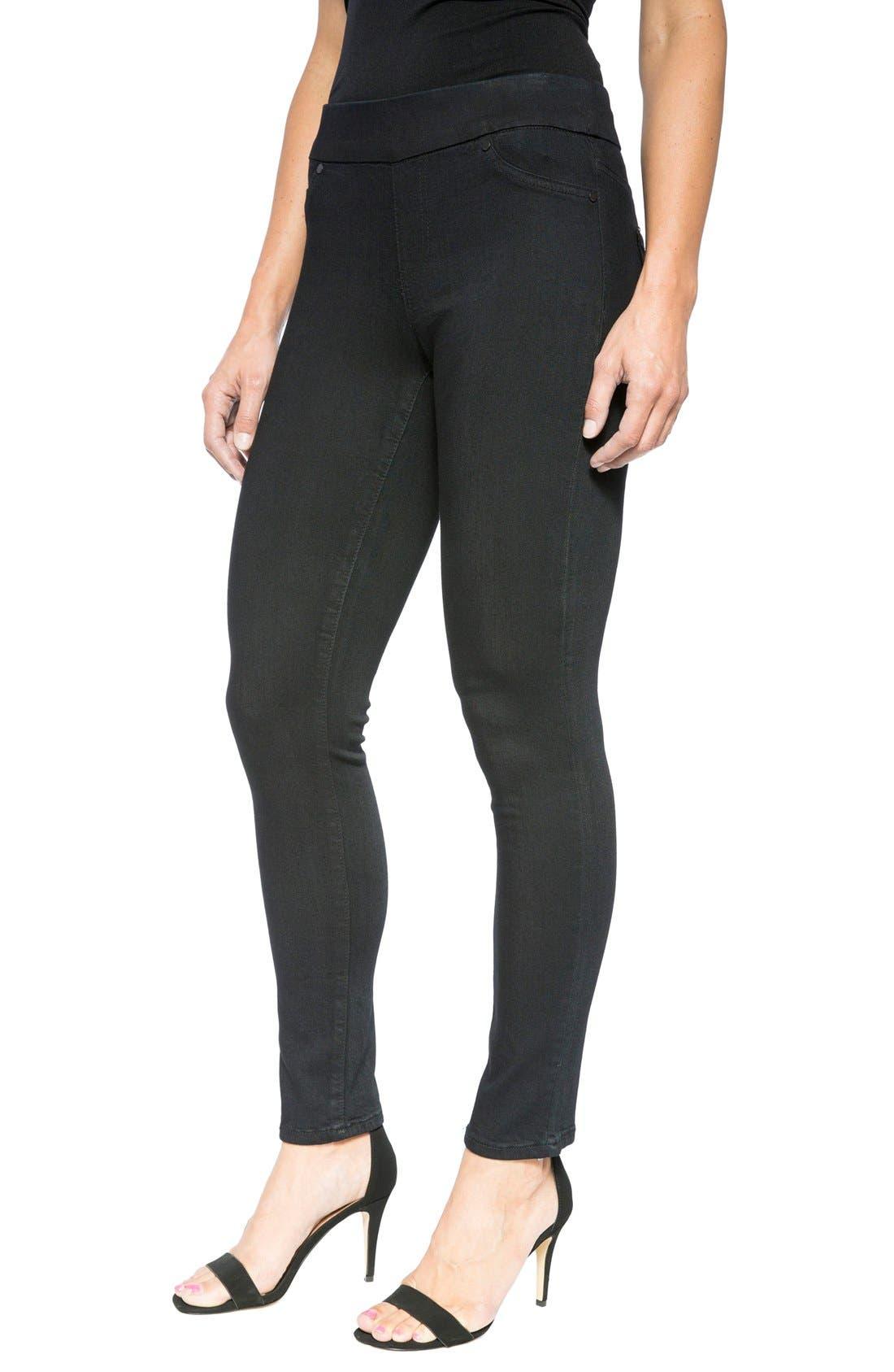 LIVERPOOL,                             Jeans Company Sienna Mid Rise Soft Stretch Denim Leggings,                             Alternate thumbnail 5, color,                             INDIGO OVERDYE BLACK