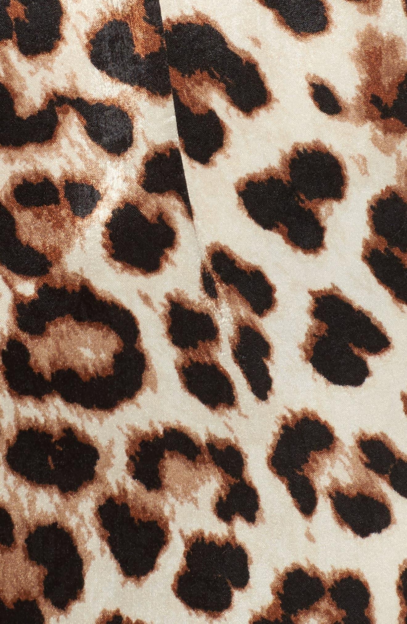 Leopard Print Choker Neck Romper,                             Alternate thumbnail 5, color,                             001