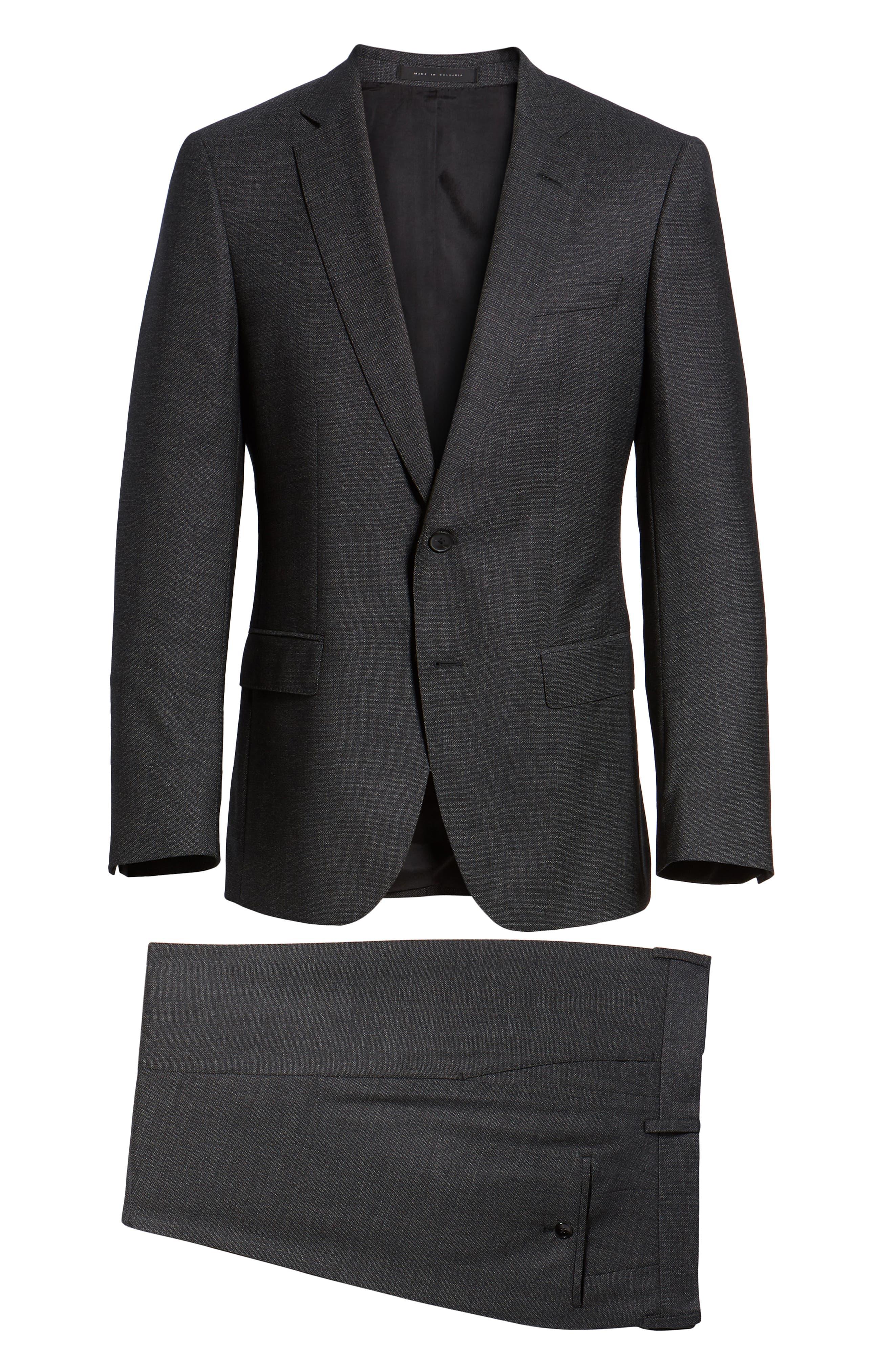 Huge/Genius Trim Fit Solid Wool Suit,                             Alternate thumbnail 8, color,                             BLACK