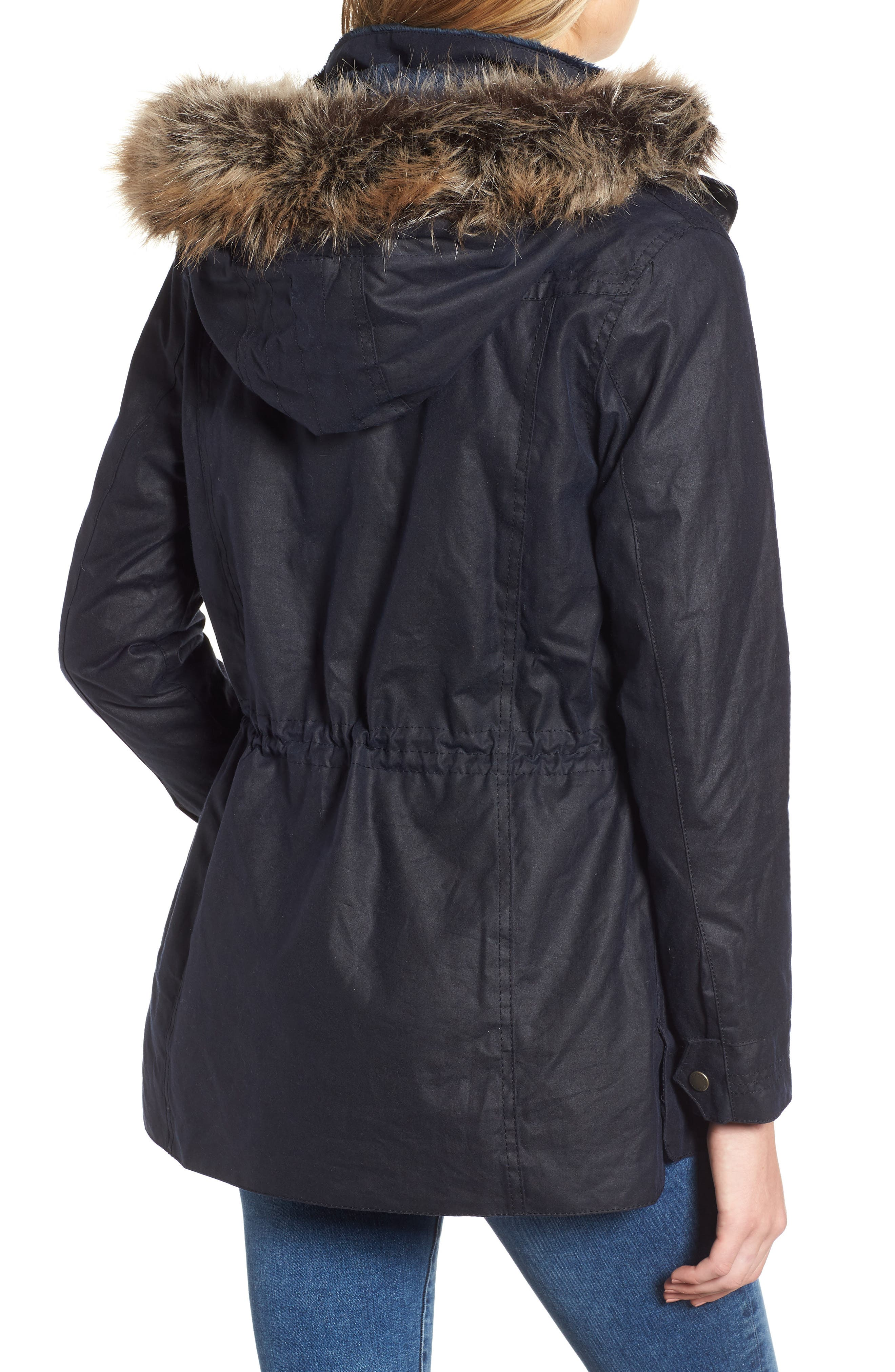 Southwold Jacket with Faux Fur Lining & Trim,                             Alternate thumbnail 2, color,                             ROYAL NAVY