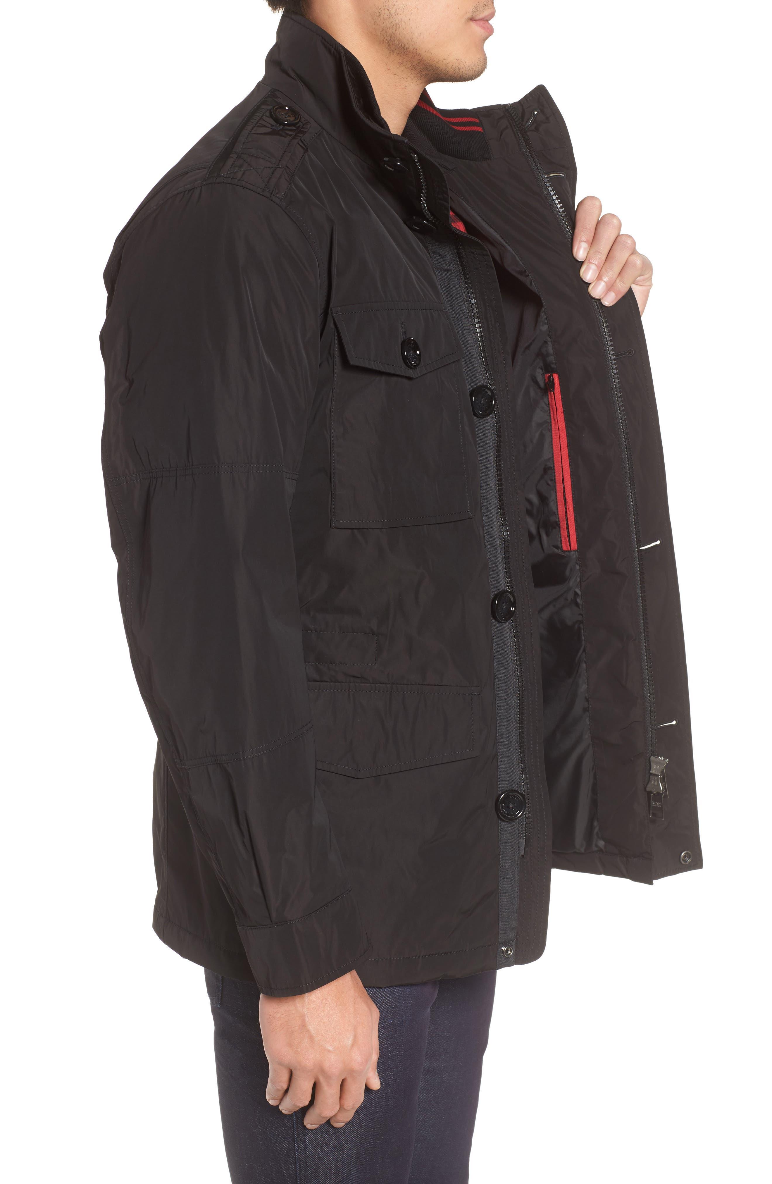 BOSS,                             Camino Regular Fit Field Jacket,                             Alternate thumbnail 3, color,                             001