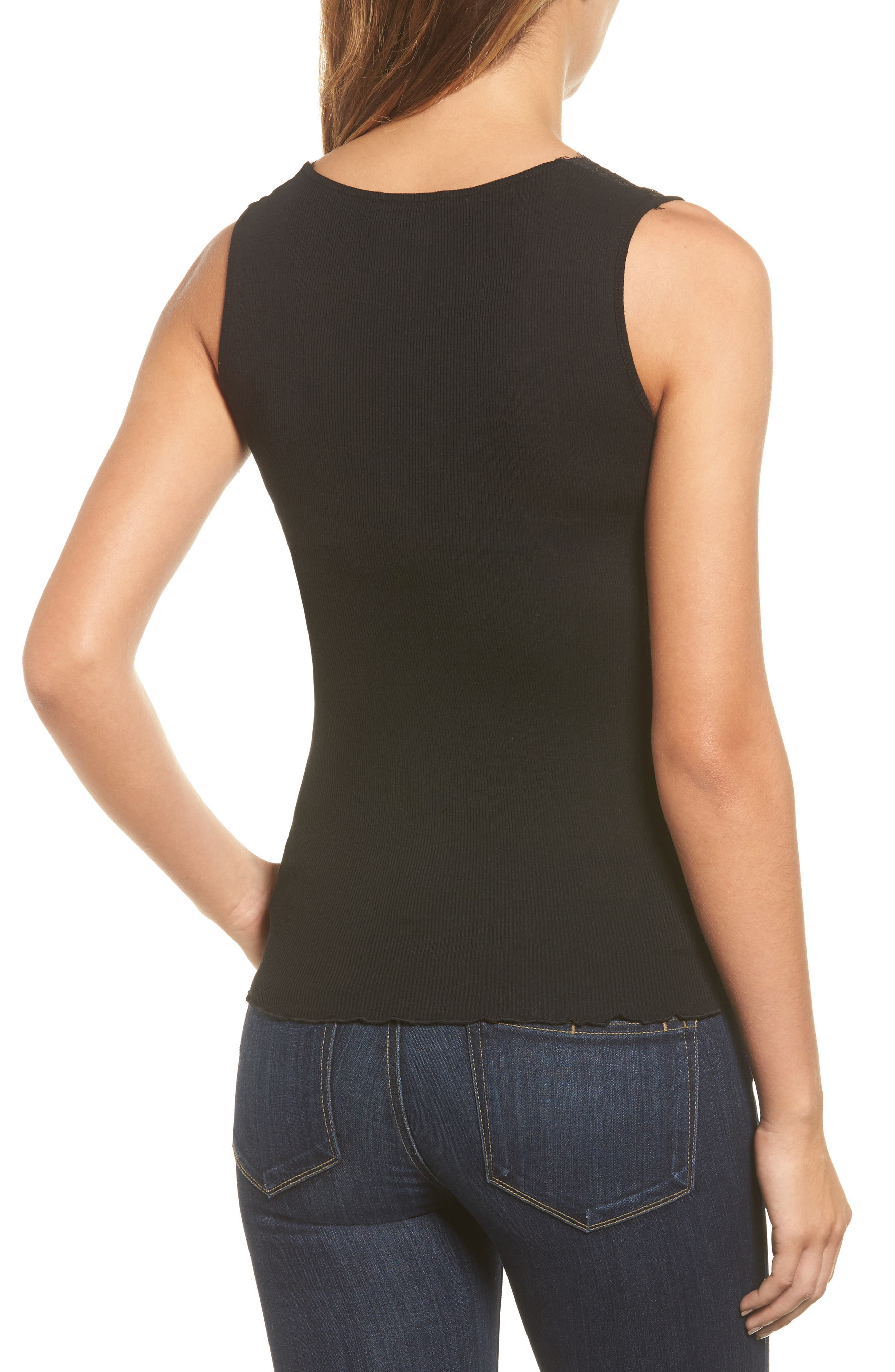 Bertine Lace Yoke Tank,                             Alternate thumbnail 2, color,                             001