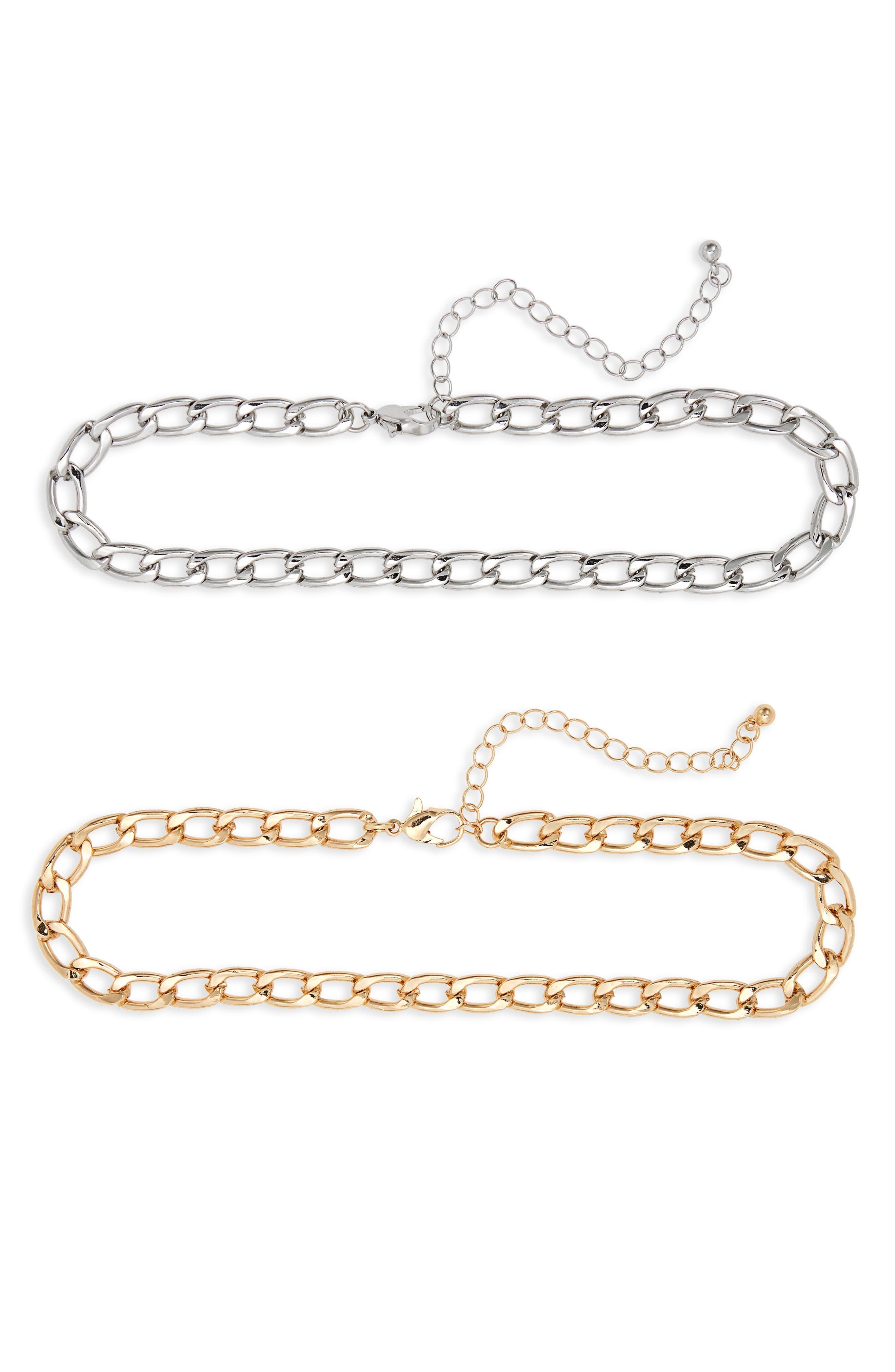 2-Pack Metal Chain Chokers,                         Main,                         color, 710