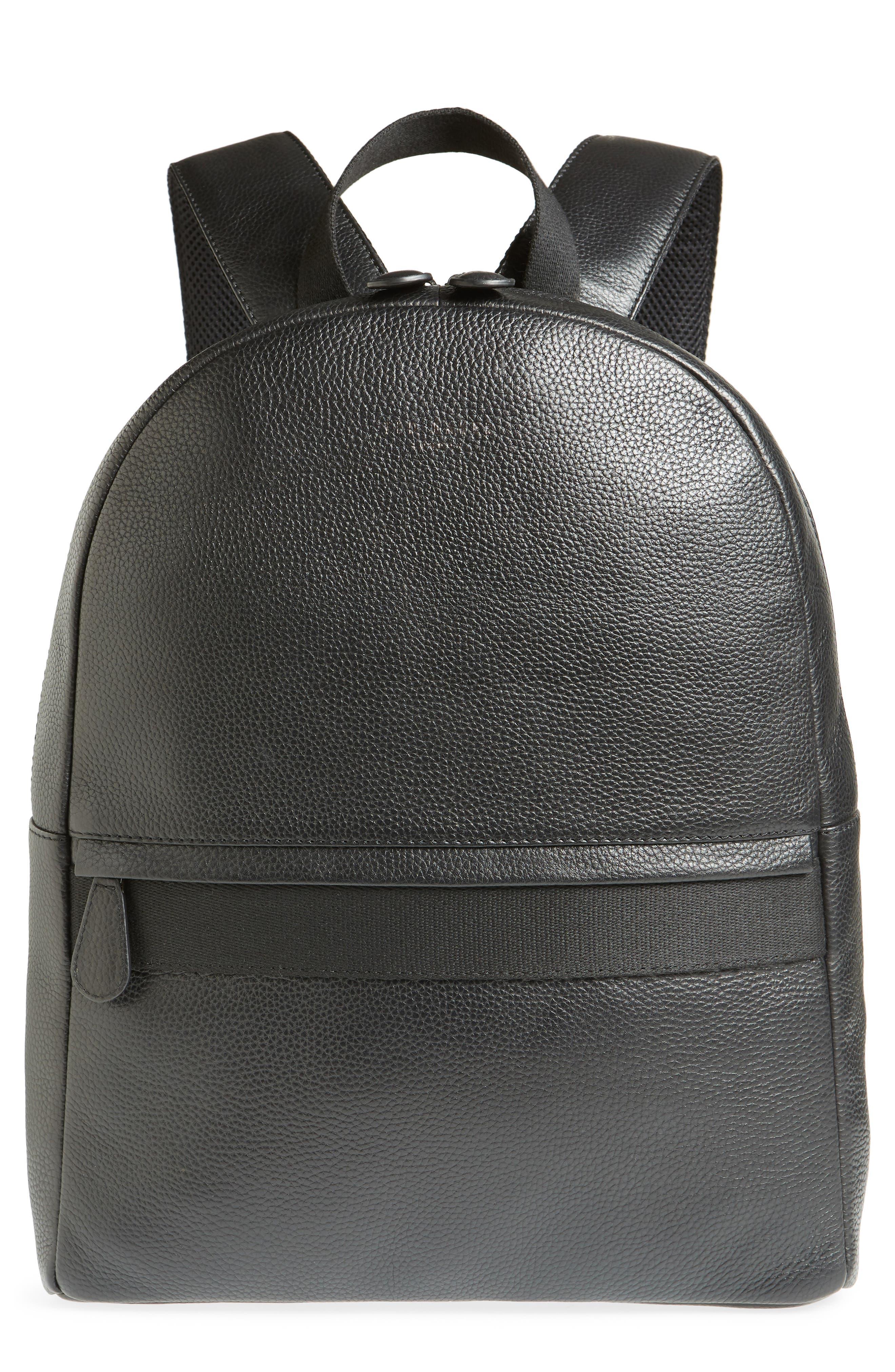 Rickrak Leather Backpack,                             Main thumbnail 1, color,                             BLACK