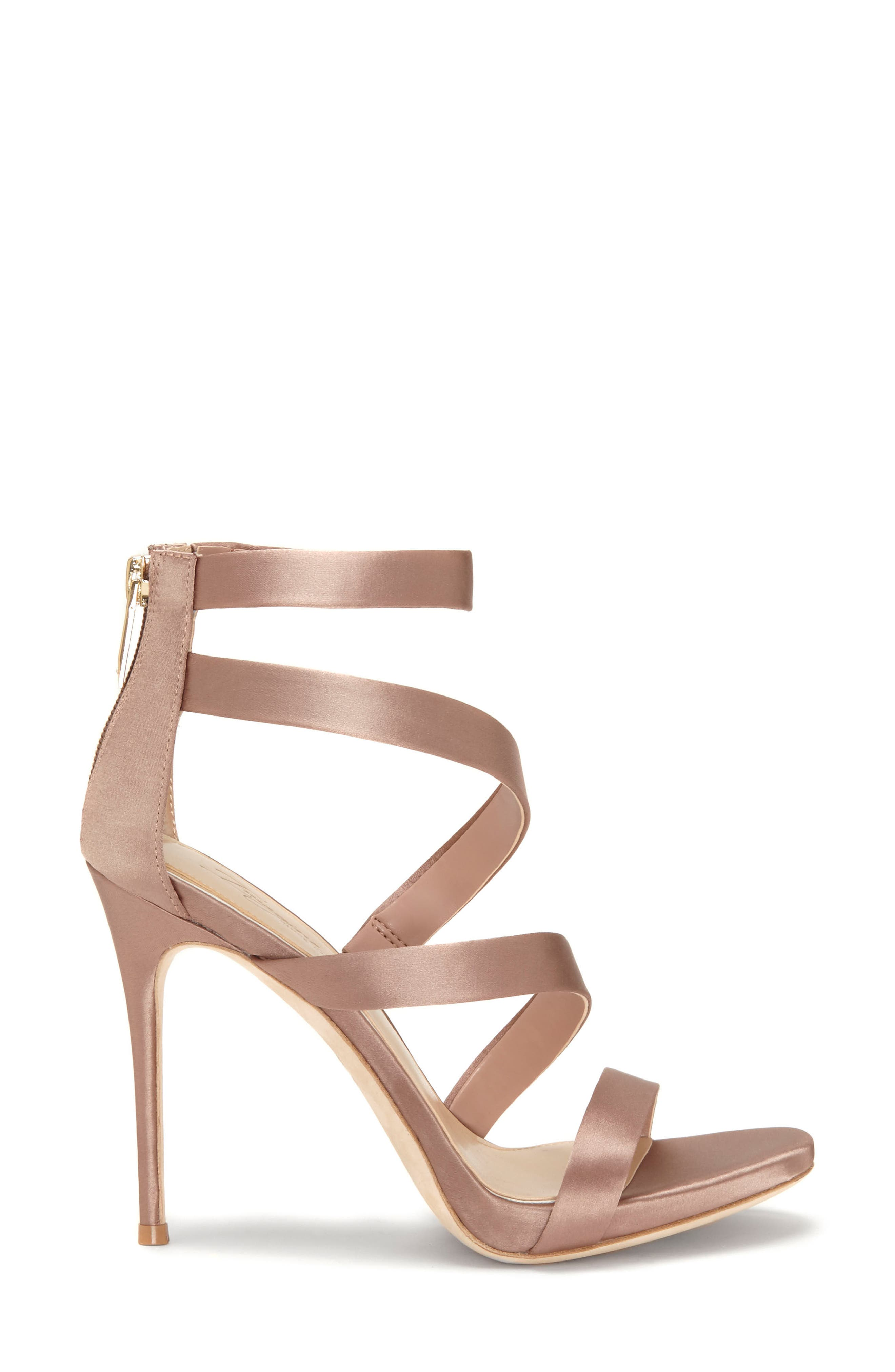 Imagine Vince Camuto Dalles Tall Strappy Sandal,                             Alternate thumbnail 3, color,                             WARM TAUPE SATIN