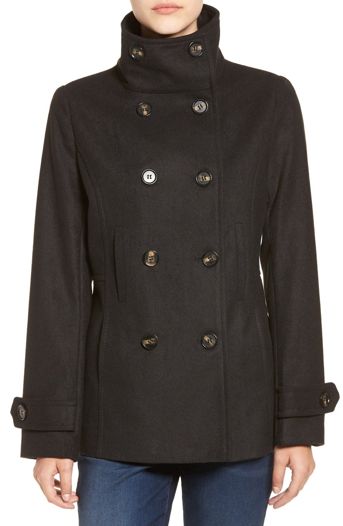 THREAD & SUPPLY,                             Double Breasted Peacoat,                             Alternate thumbnail 7, color,                             BLACK