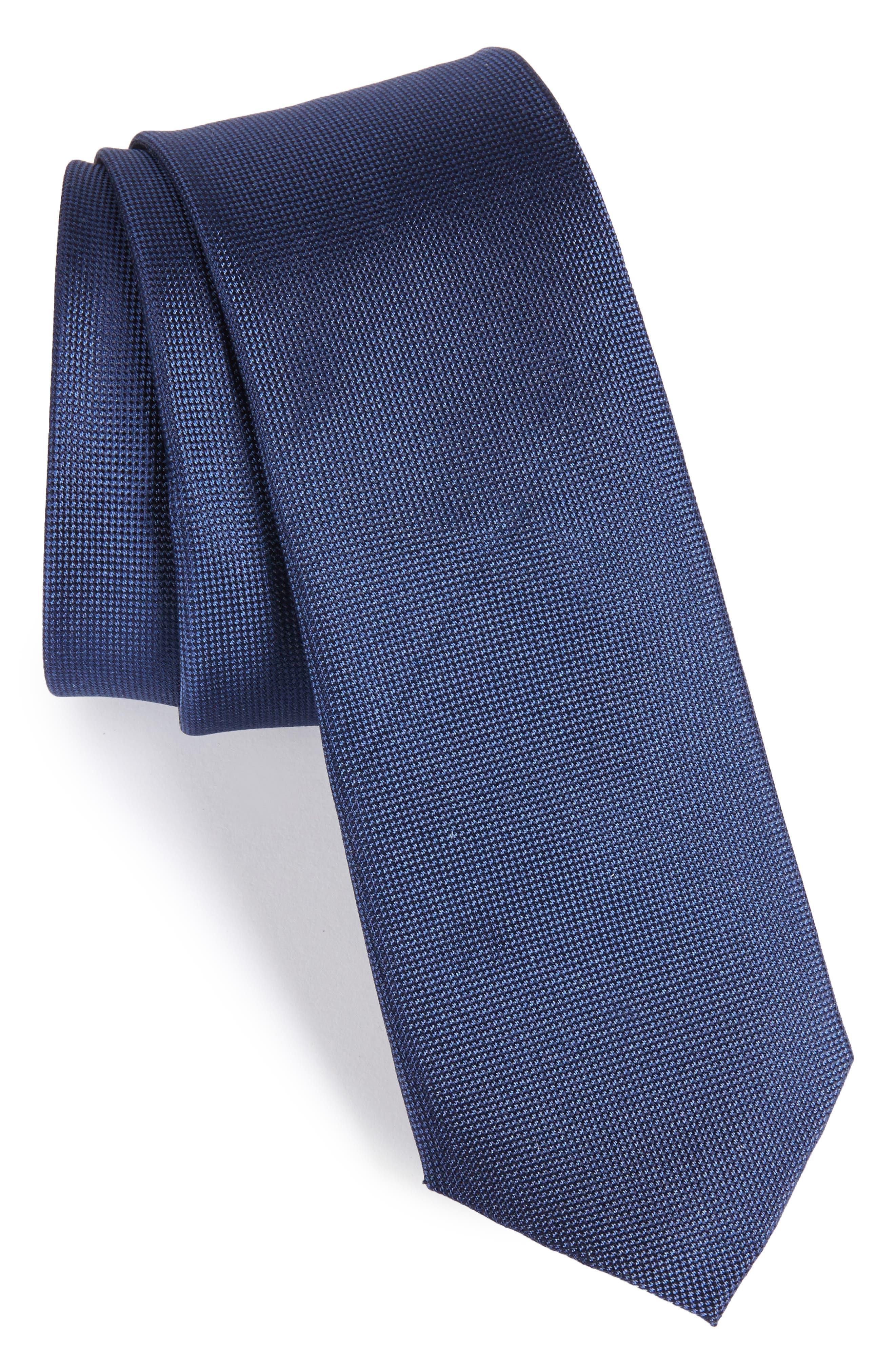 Foley Silk Tie,                         Main,                         color, DARK NAVY