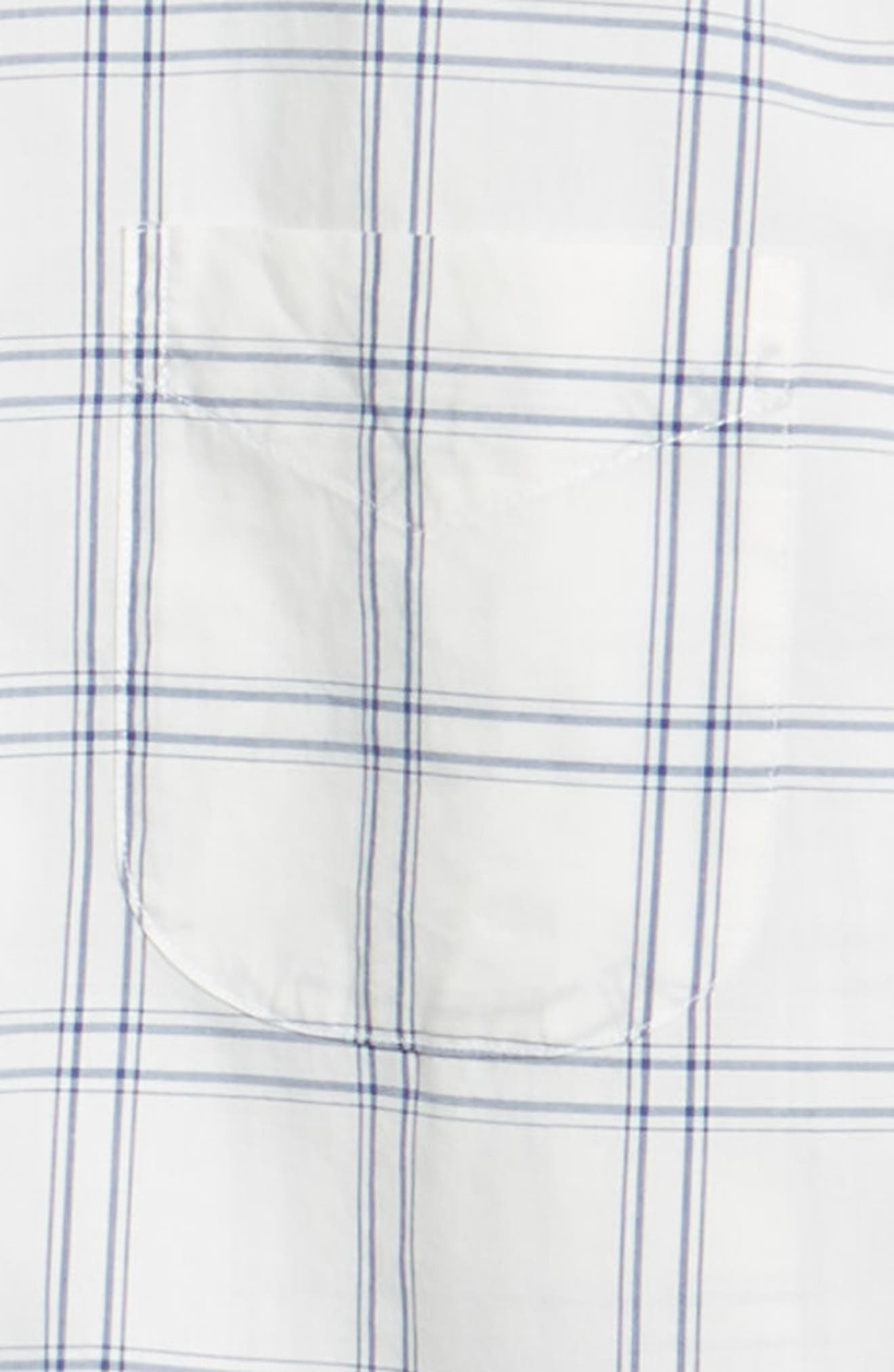 Summerweight Slim Fit Plaid Sport Shirt,                             Alternate thumbnail 6, color,                             100