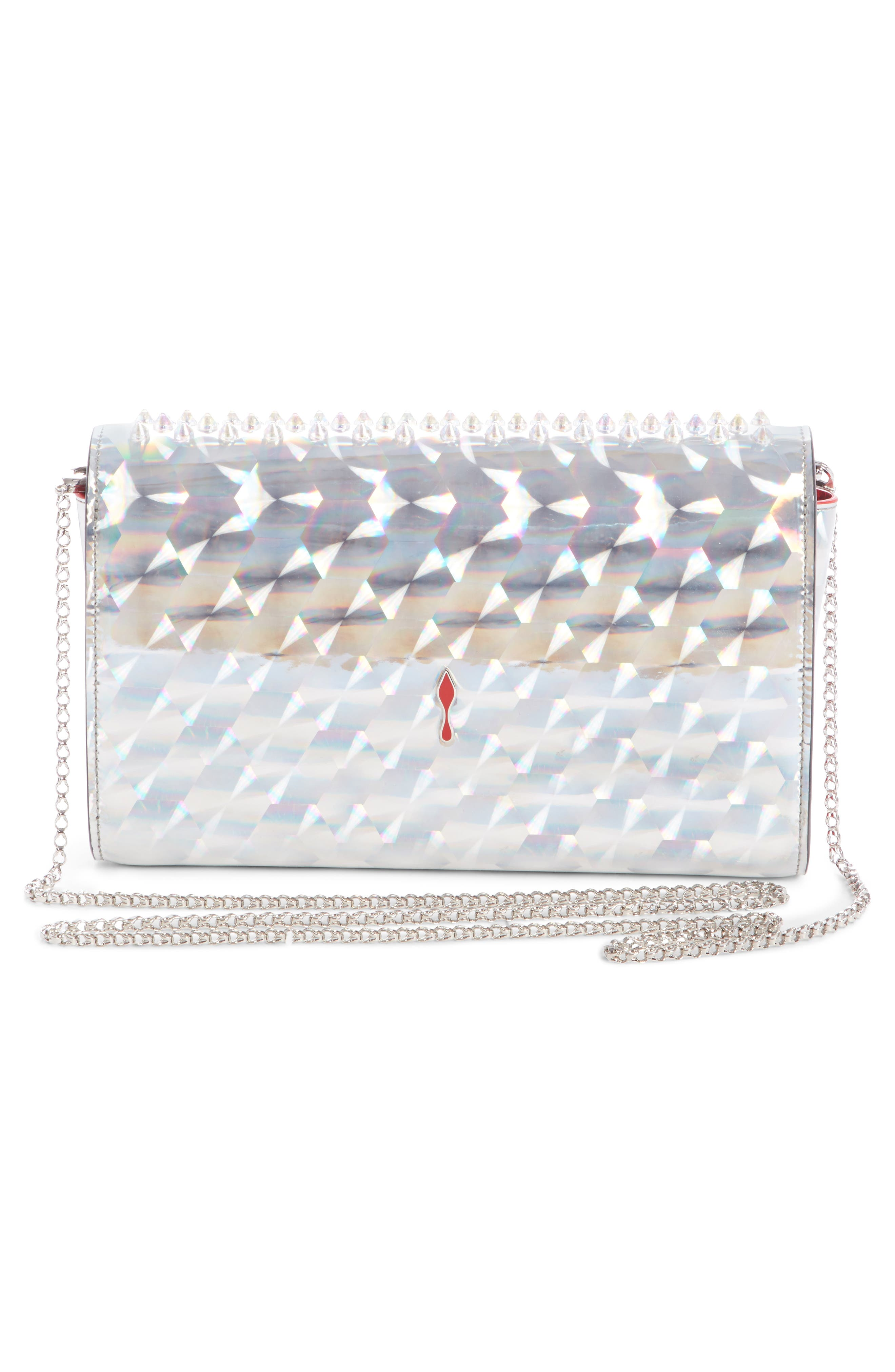 Paloma Studded Clutch,                             Alternate thumbnail 3, color,                             SILVER/ CLEAR AB