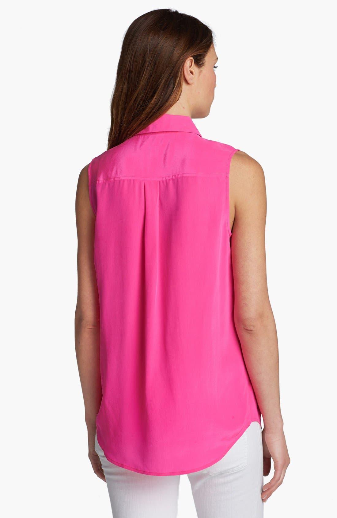 'Slim Signature' Sleeveless Silk Shirt,                             Alternate thumbnail 202, color,