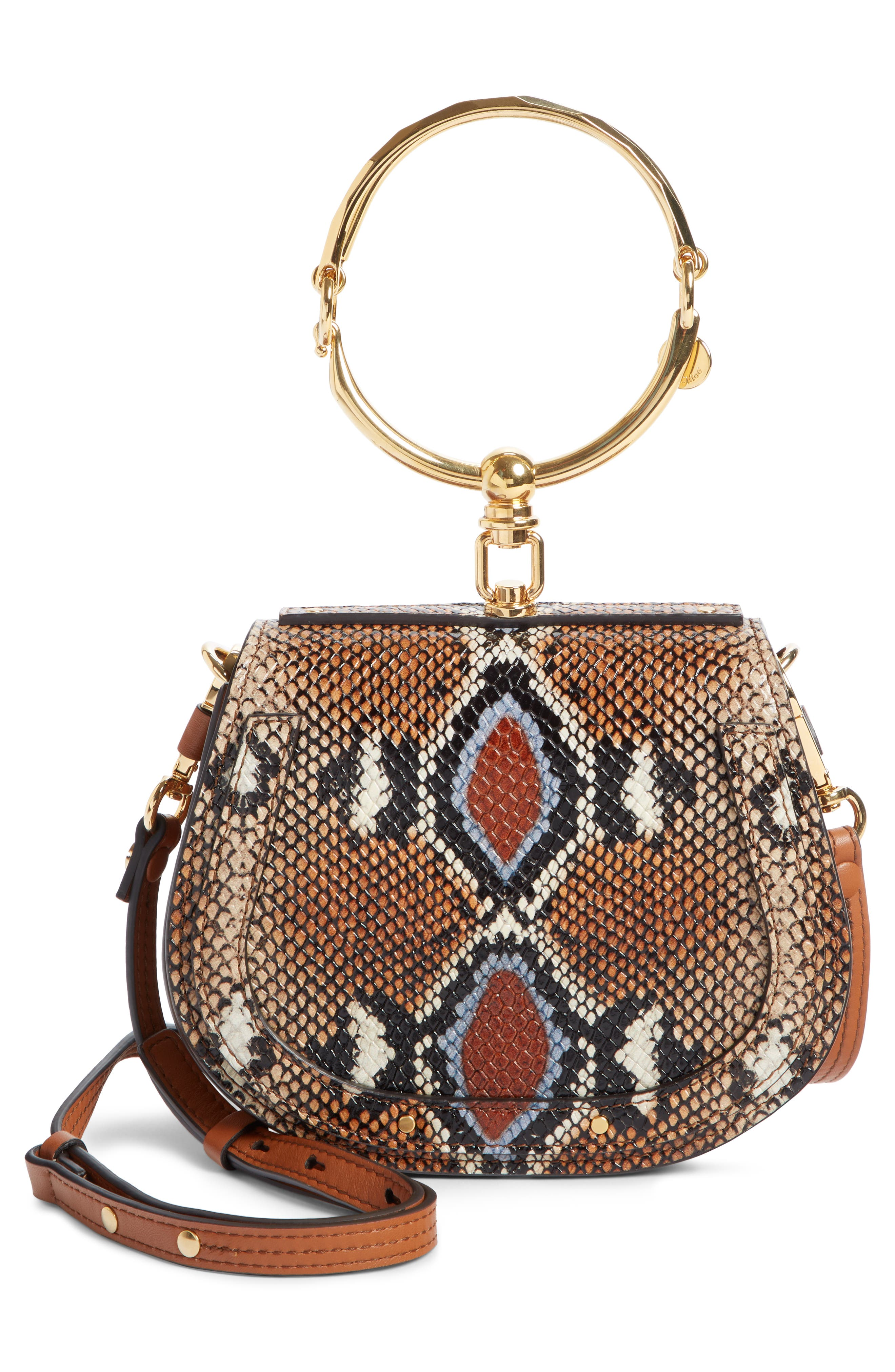 Small Nile Python Embossed Leather Crossbody Bag,                             Alternate thumbnail 3, color,                             210
