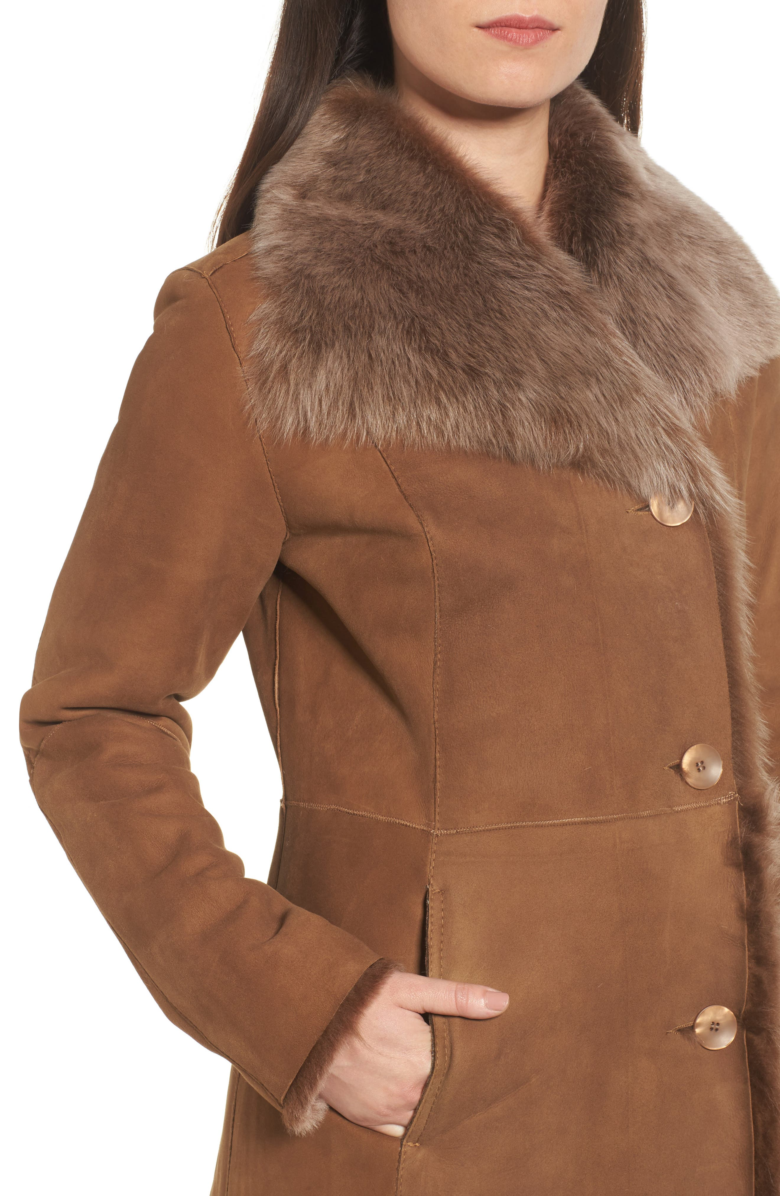 Genuine Toscana Shearling Coat,                             Alternate thumbnail 4, color,                             202