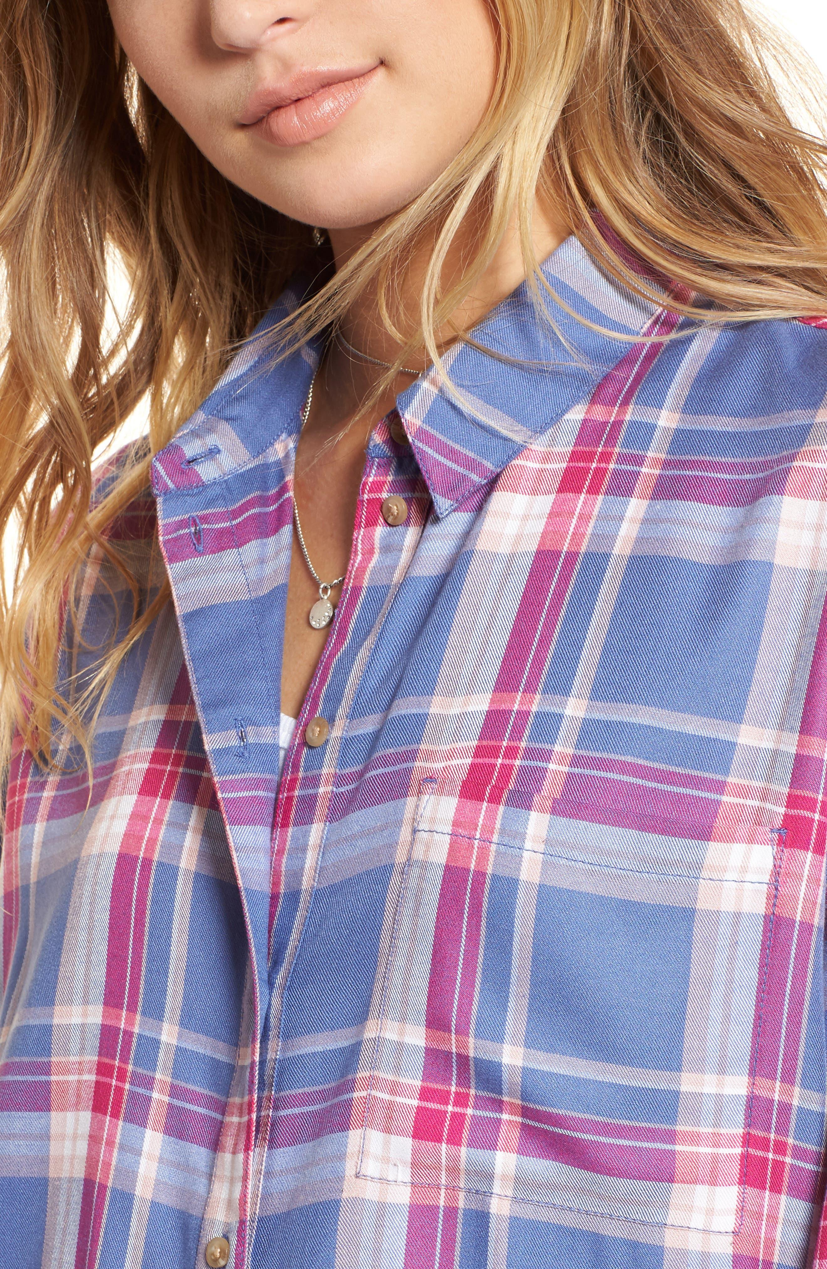 Plaid Boyfriend Shirt,                             Alternate thumbnail 18, color,