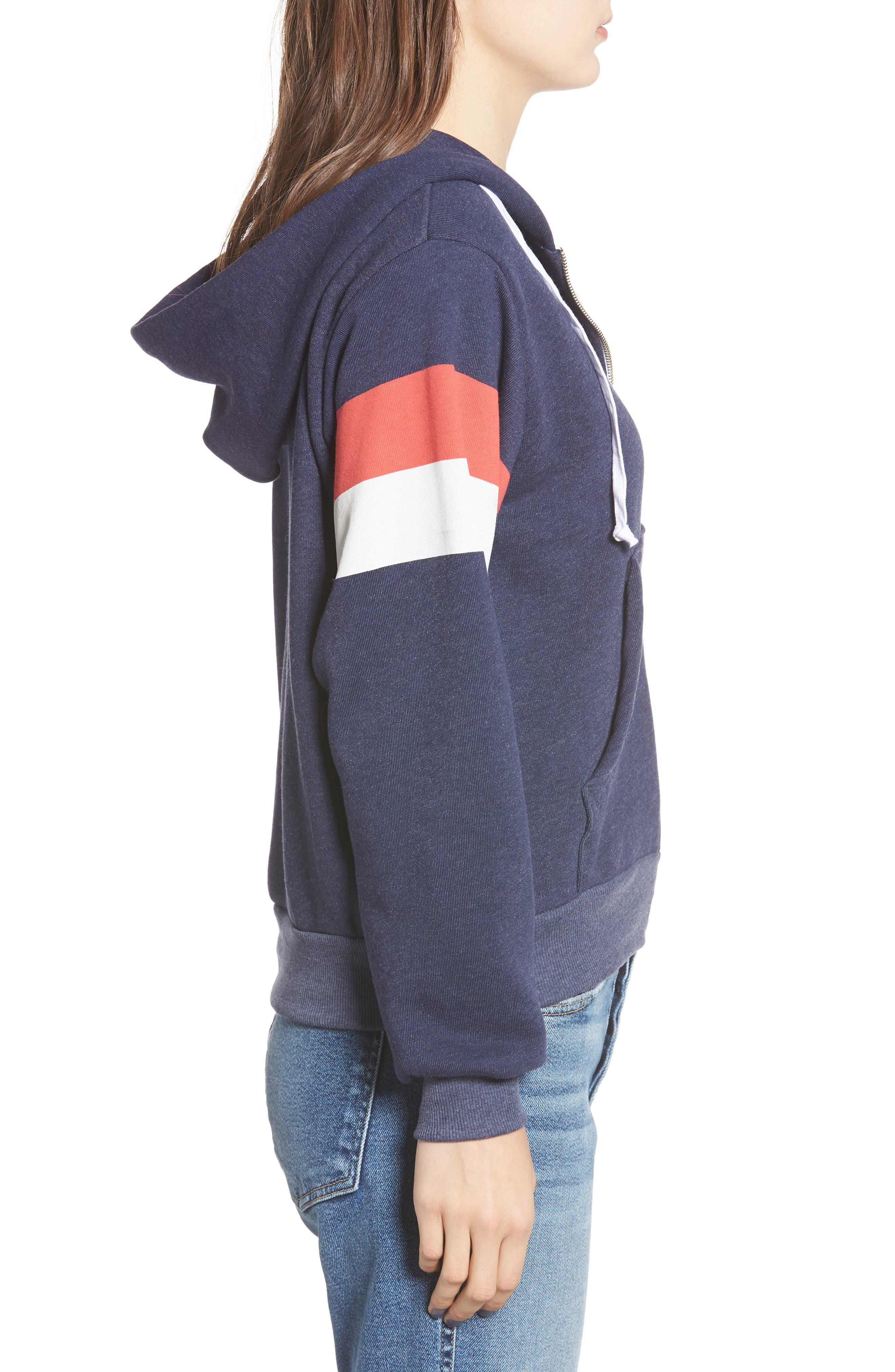 Regan Varsity Stripe Zip Hoodie,                             Alternate thumbnail 3, color,                             410