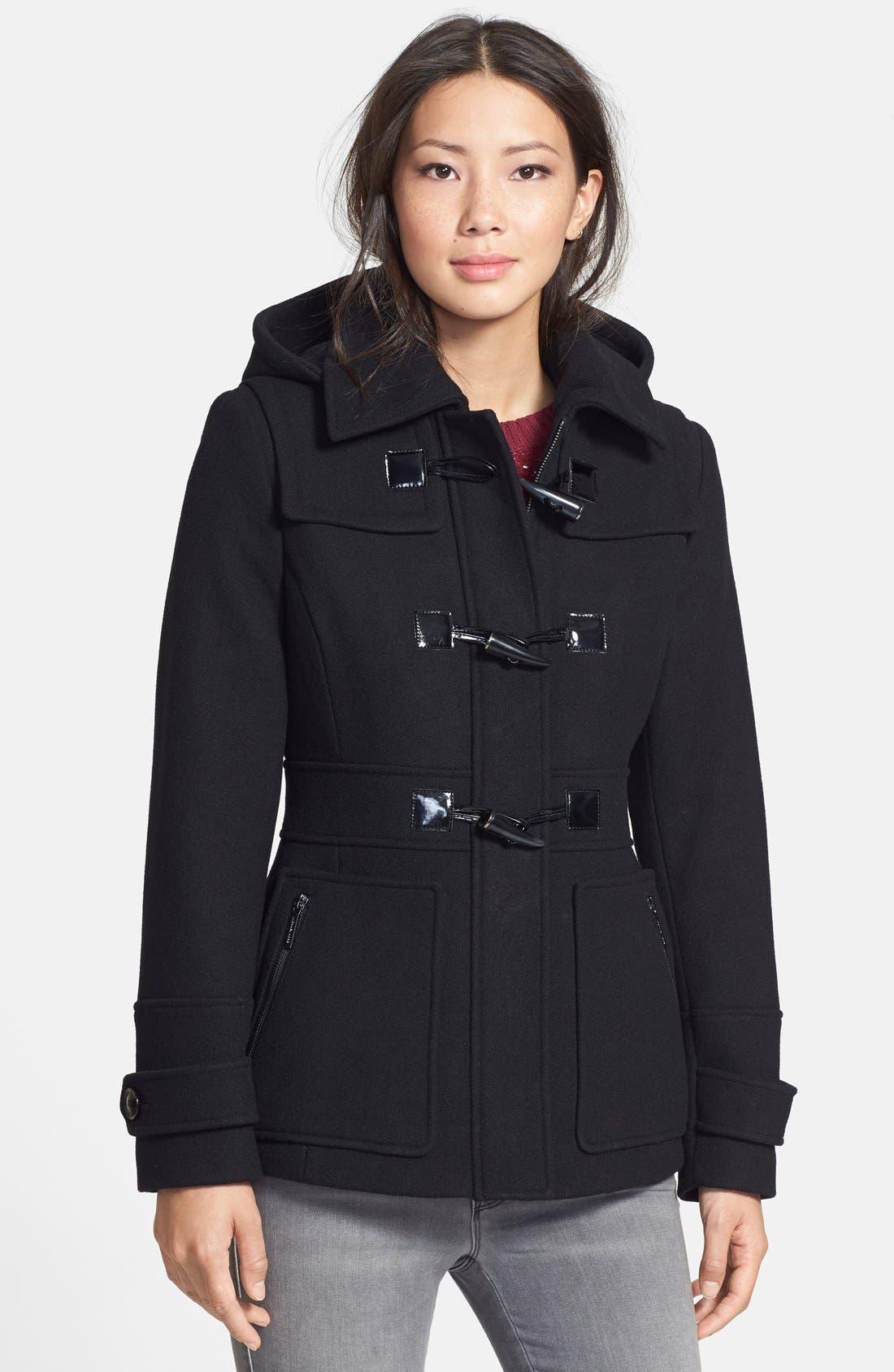Wool Blend Duffle Coat,                         Main,                         color, 001