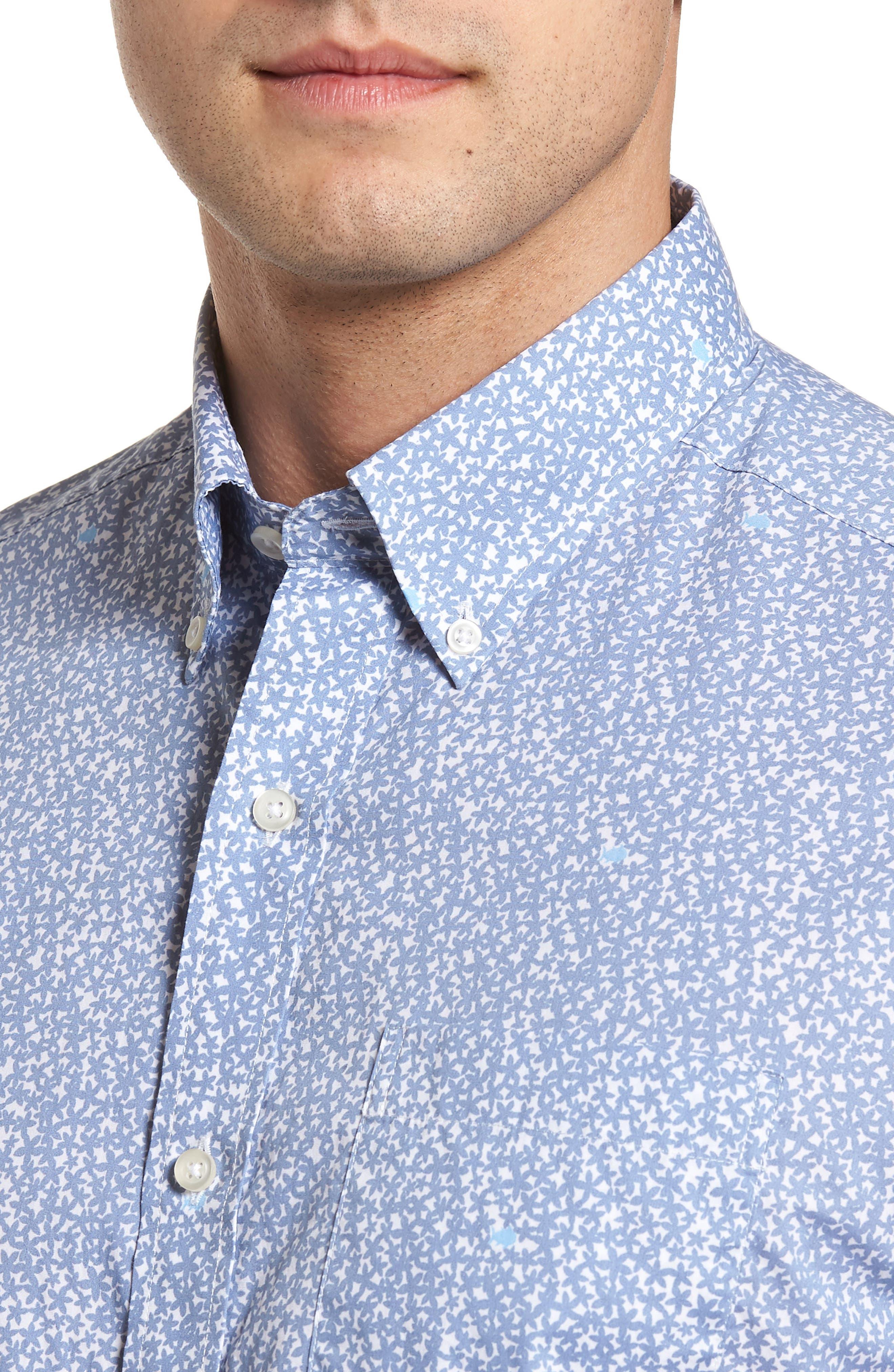 Dover Beach Regular Fit Print Sport Shirt,                             Alternate thumbnail 4, color,                             020