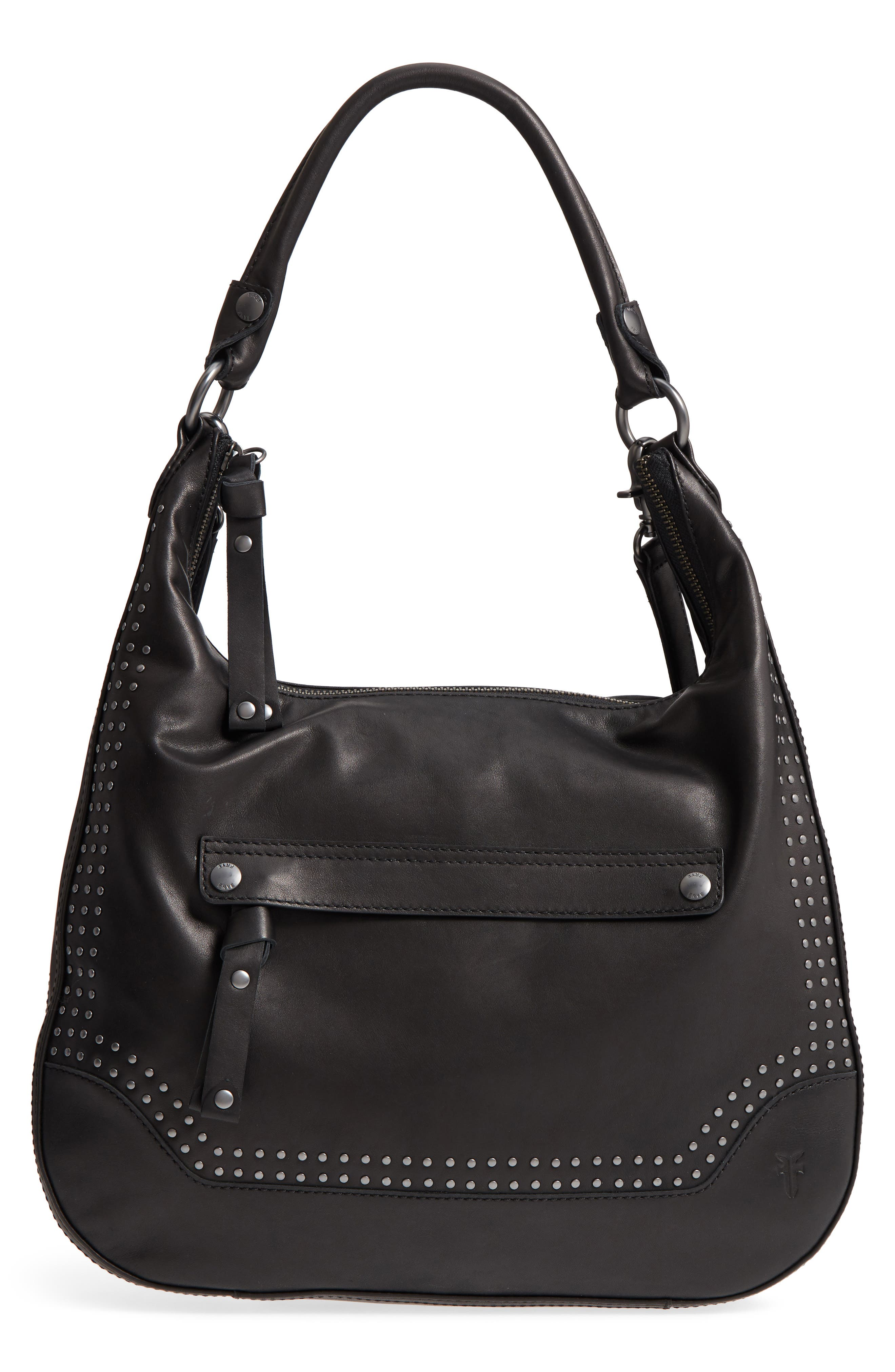 Melissa Large Studded Leather Hobo, Main, color, 001