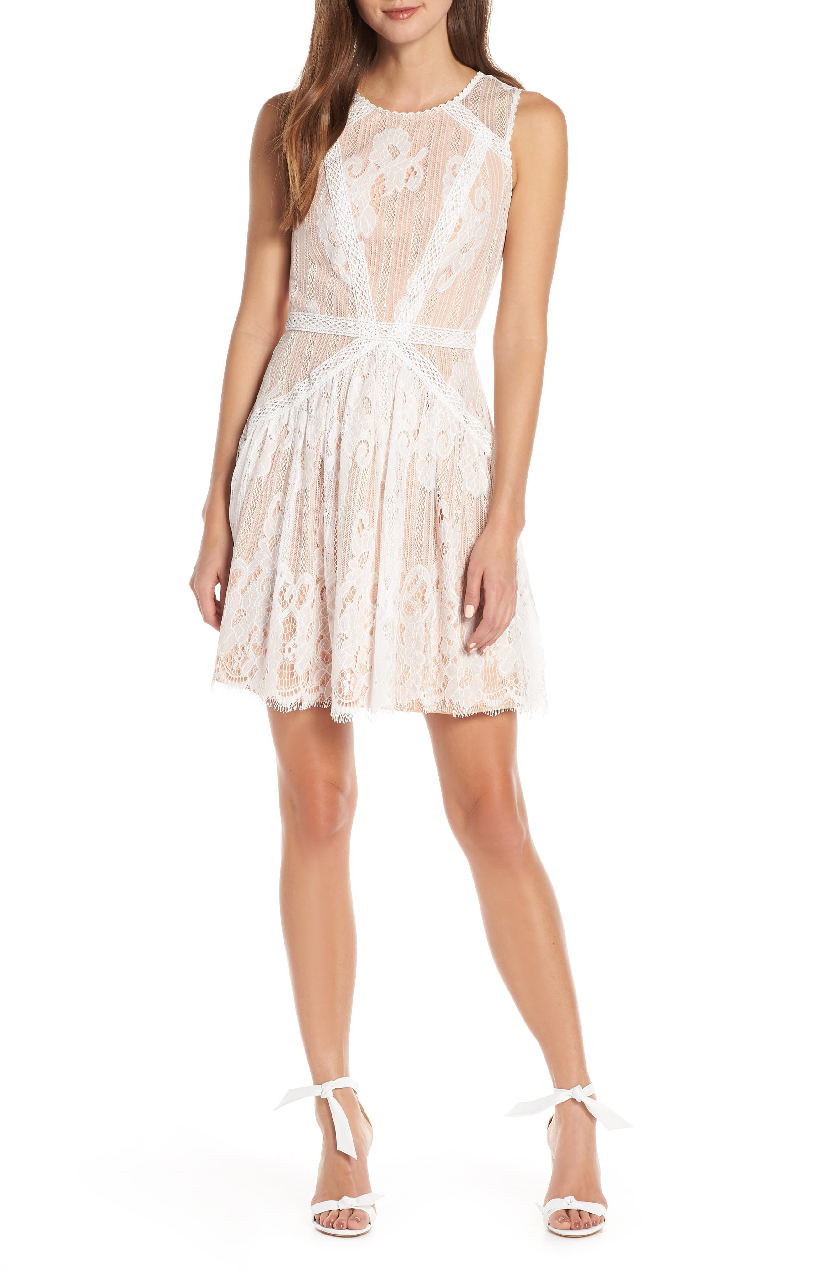 Adelyn Rae Trina Lace Fit & Flare Dress, White